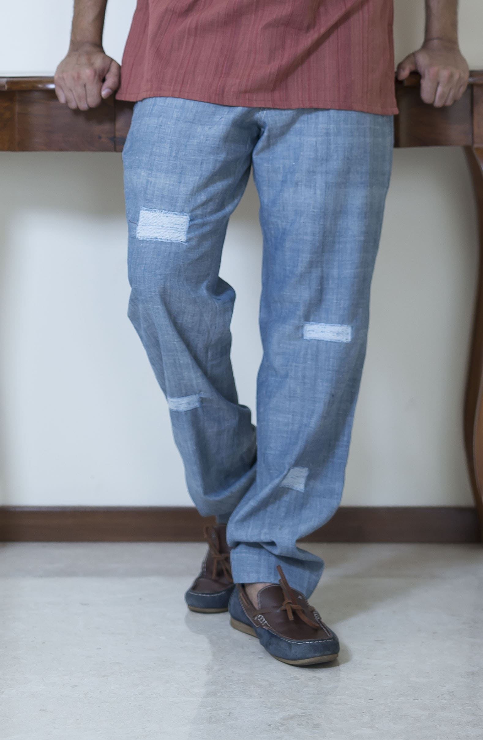 Light denim handloom mens trousers