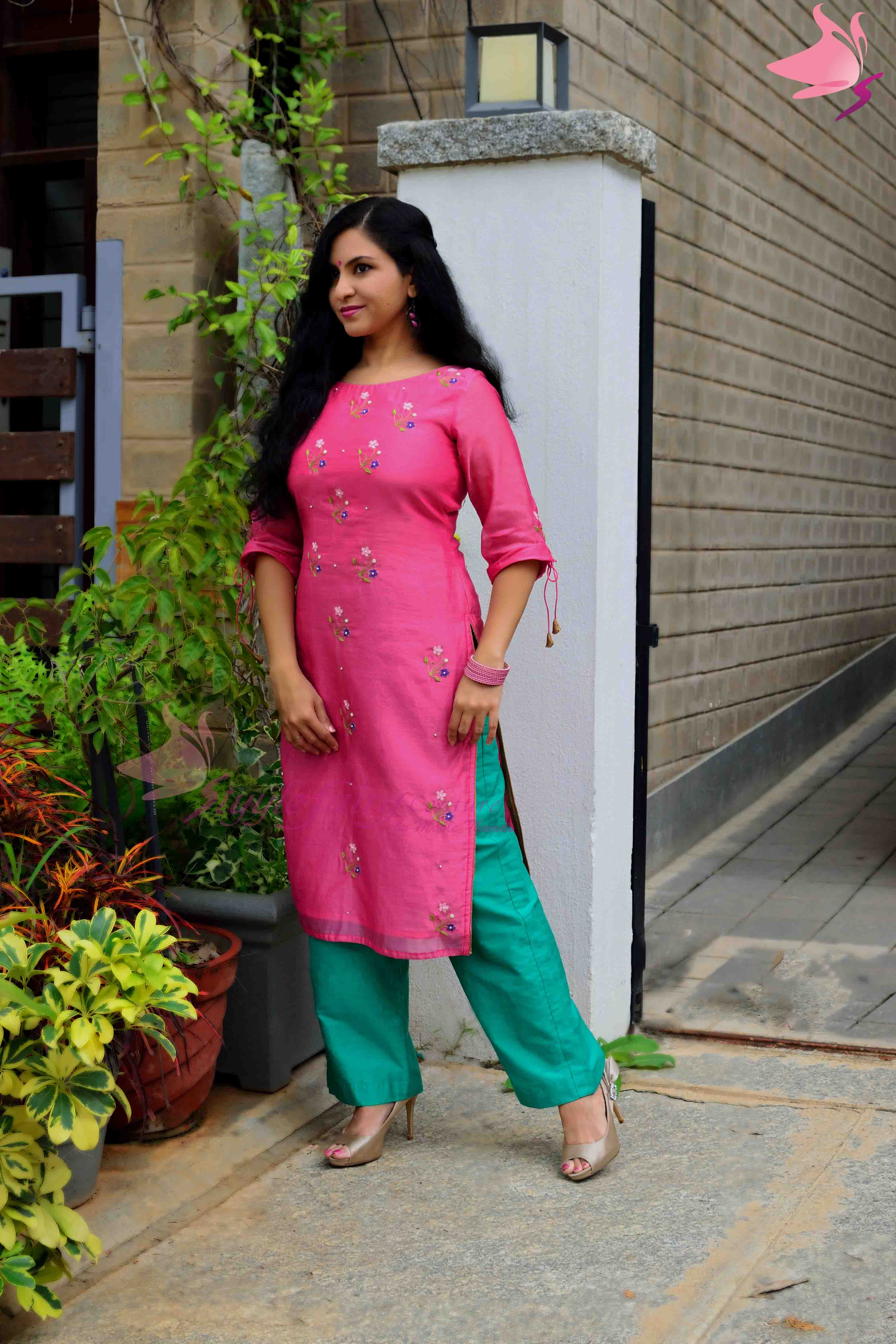 Chanderi Kurti with pastel floral hand embroidery with parallel pants