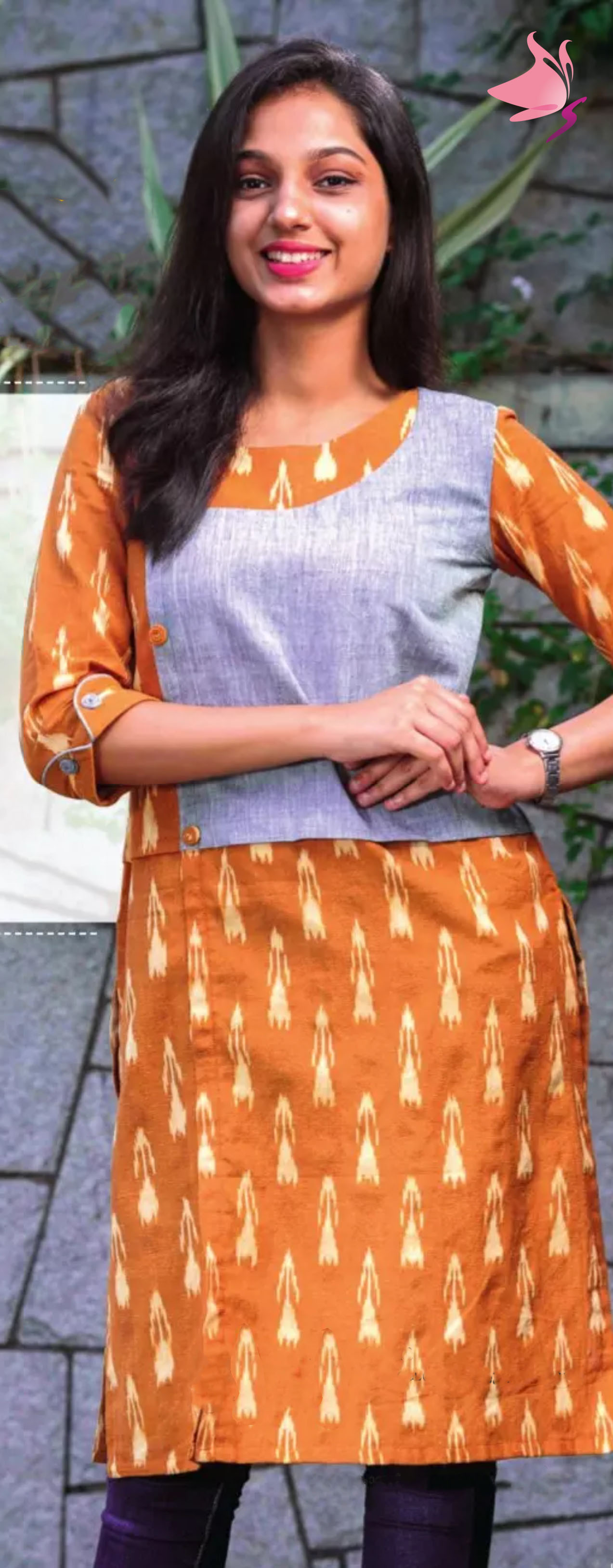 Mustard ikat And light blue Waist Coat Style Handloom Kurti