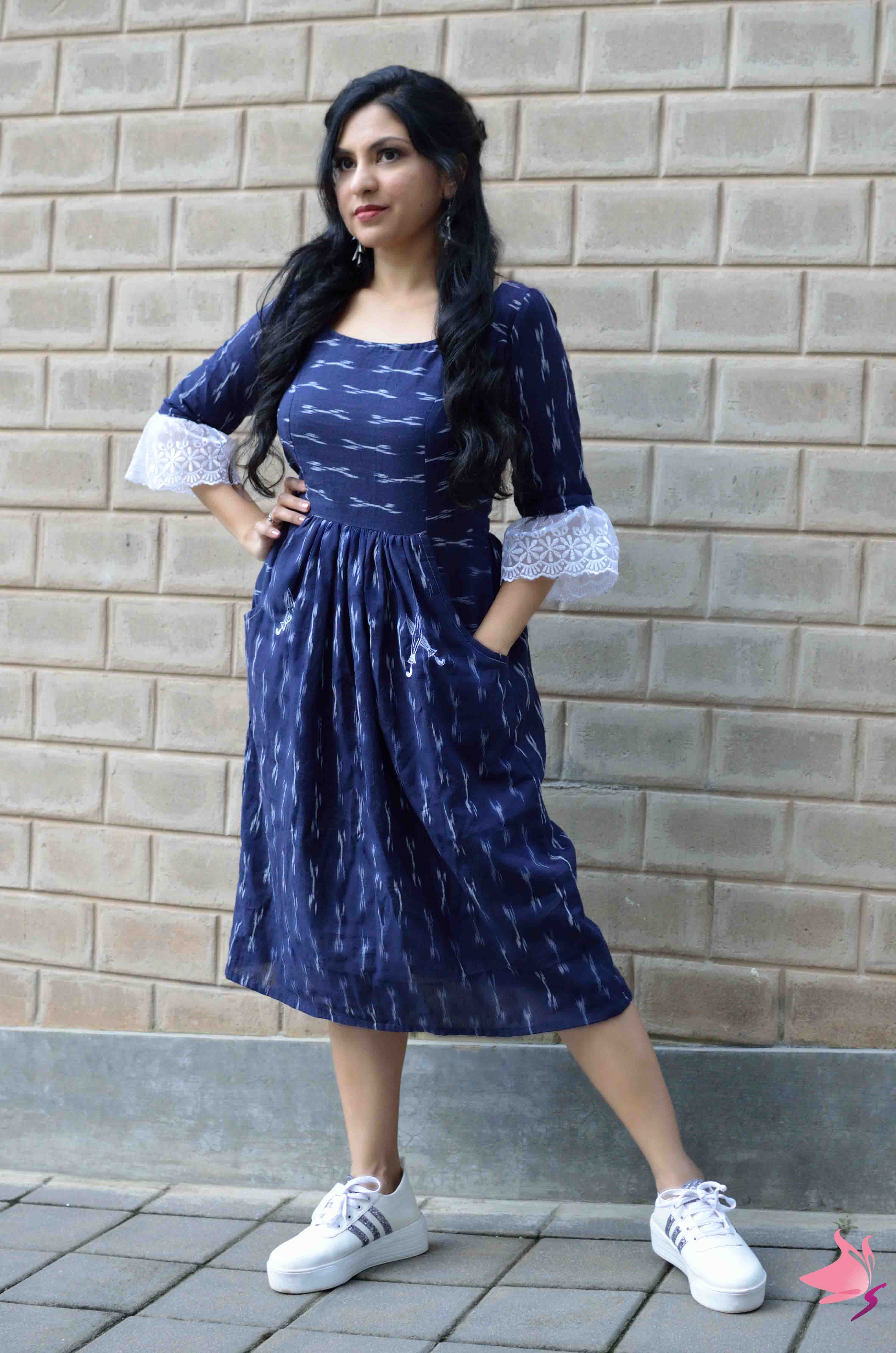 Ikat blue fit and flare dress