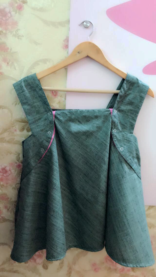 Fir Green Cotton tussar circle top