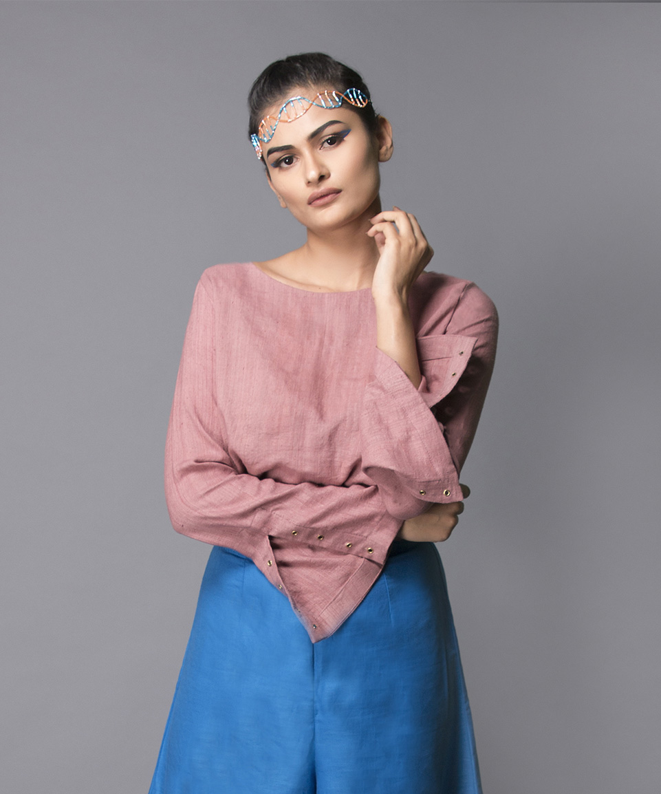 Taupe coloured Matka silk elasticated crop top