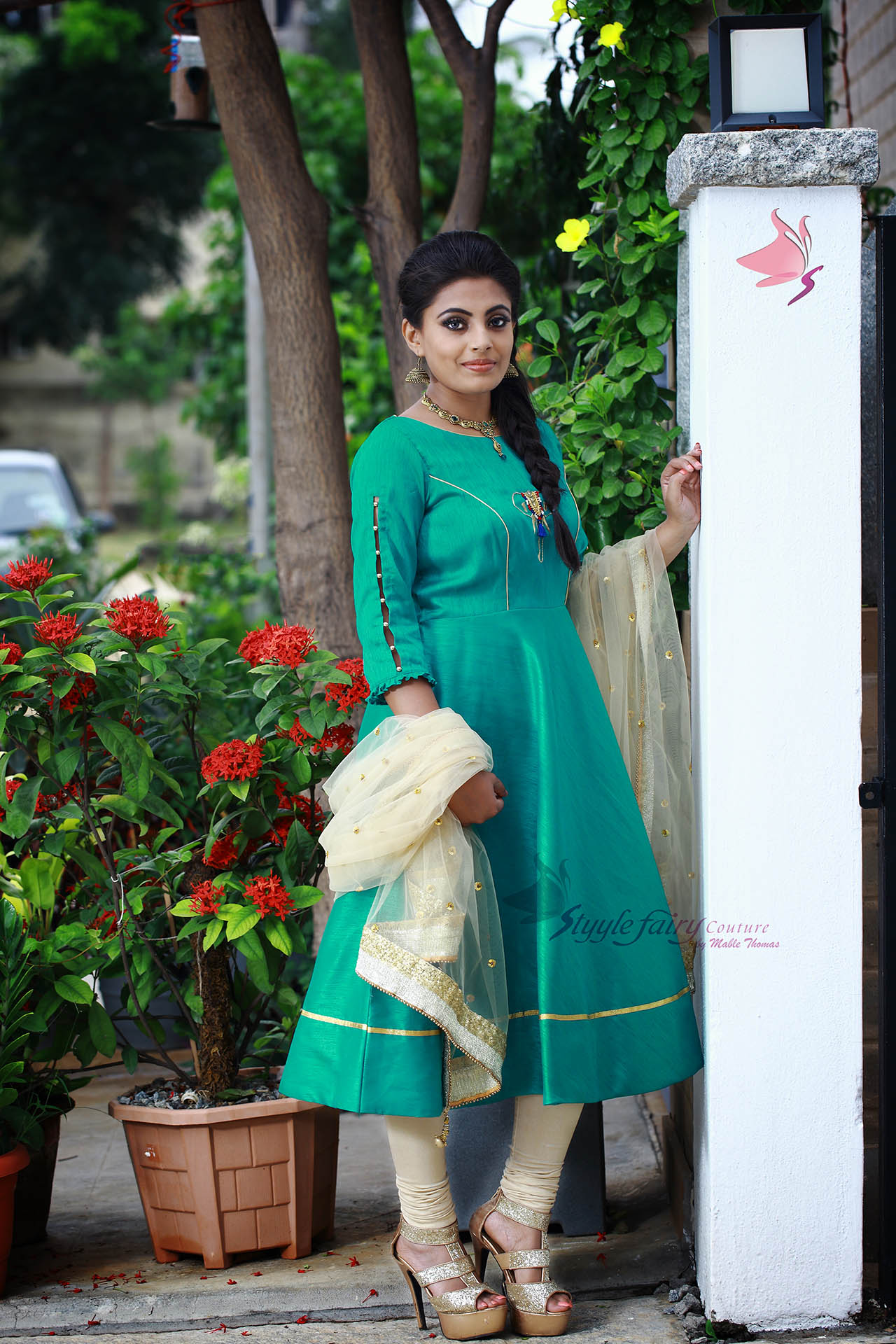 Turquoise umbrella cut anarkali