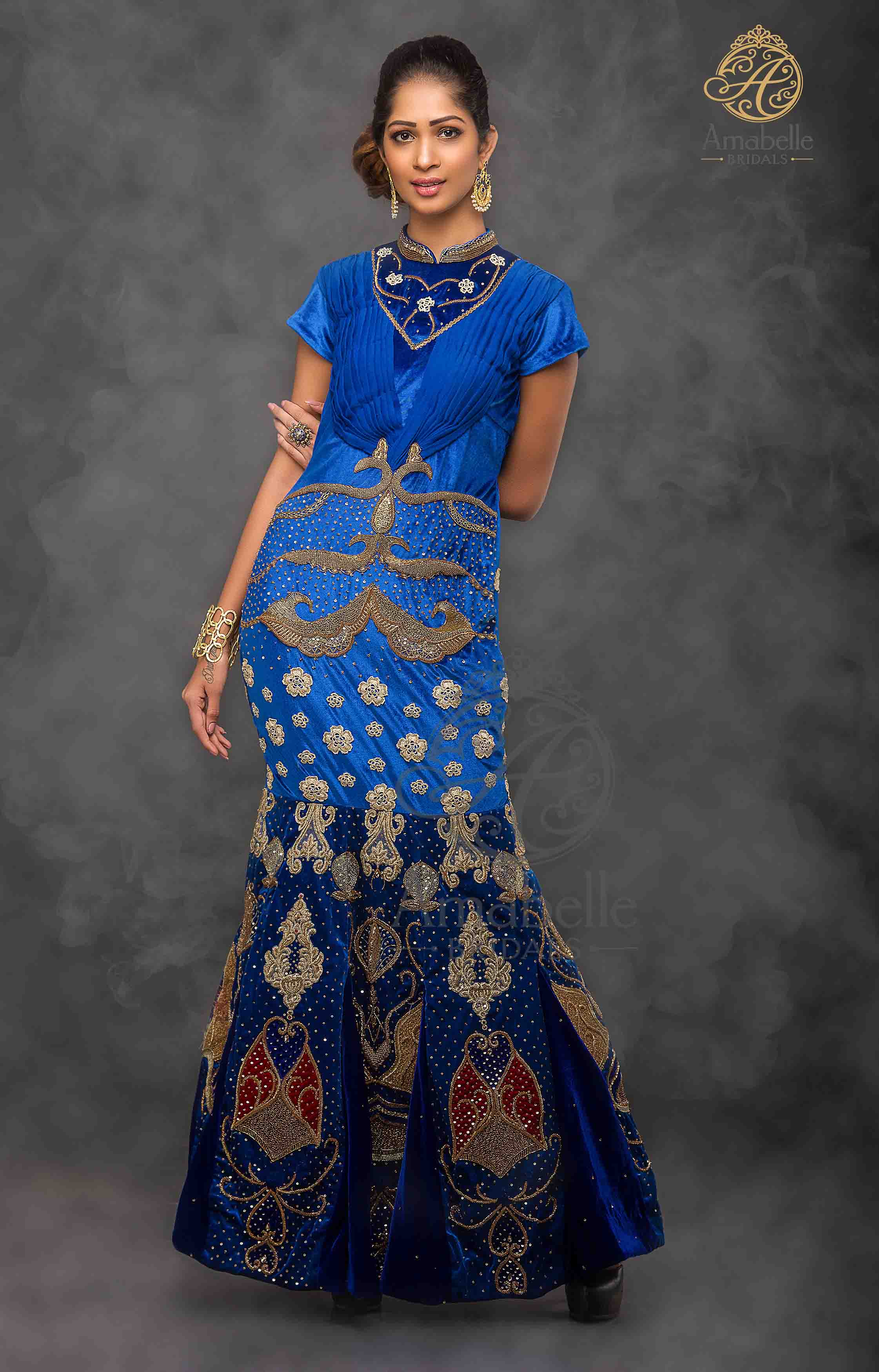 Royal blue embroidered fish cut gown
