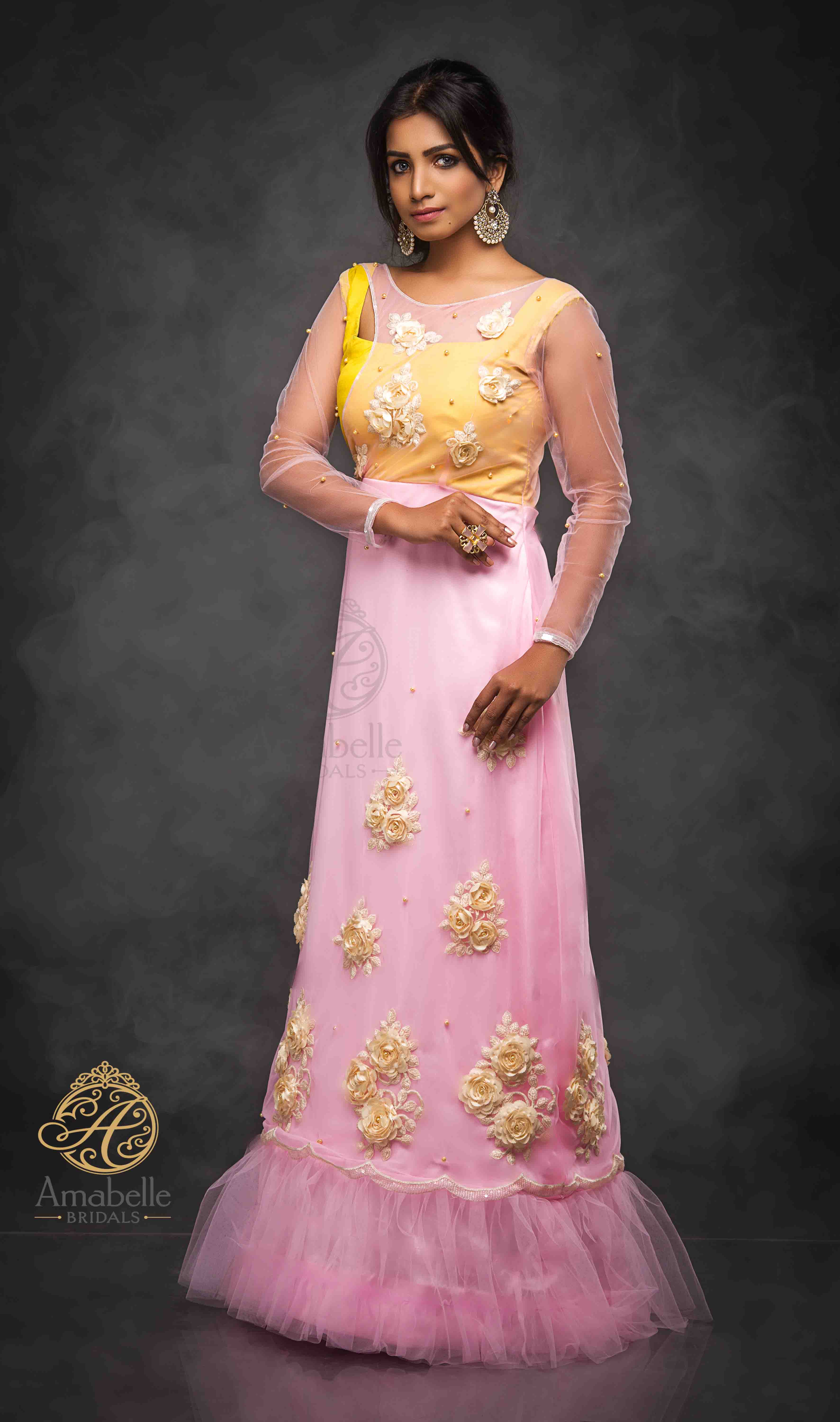 Pink and yellow A-line gown