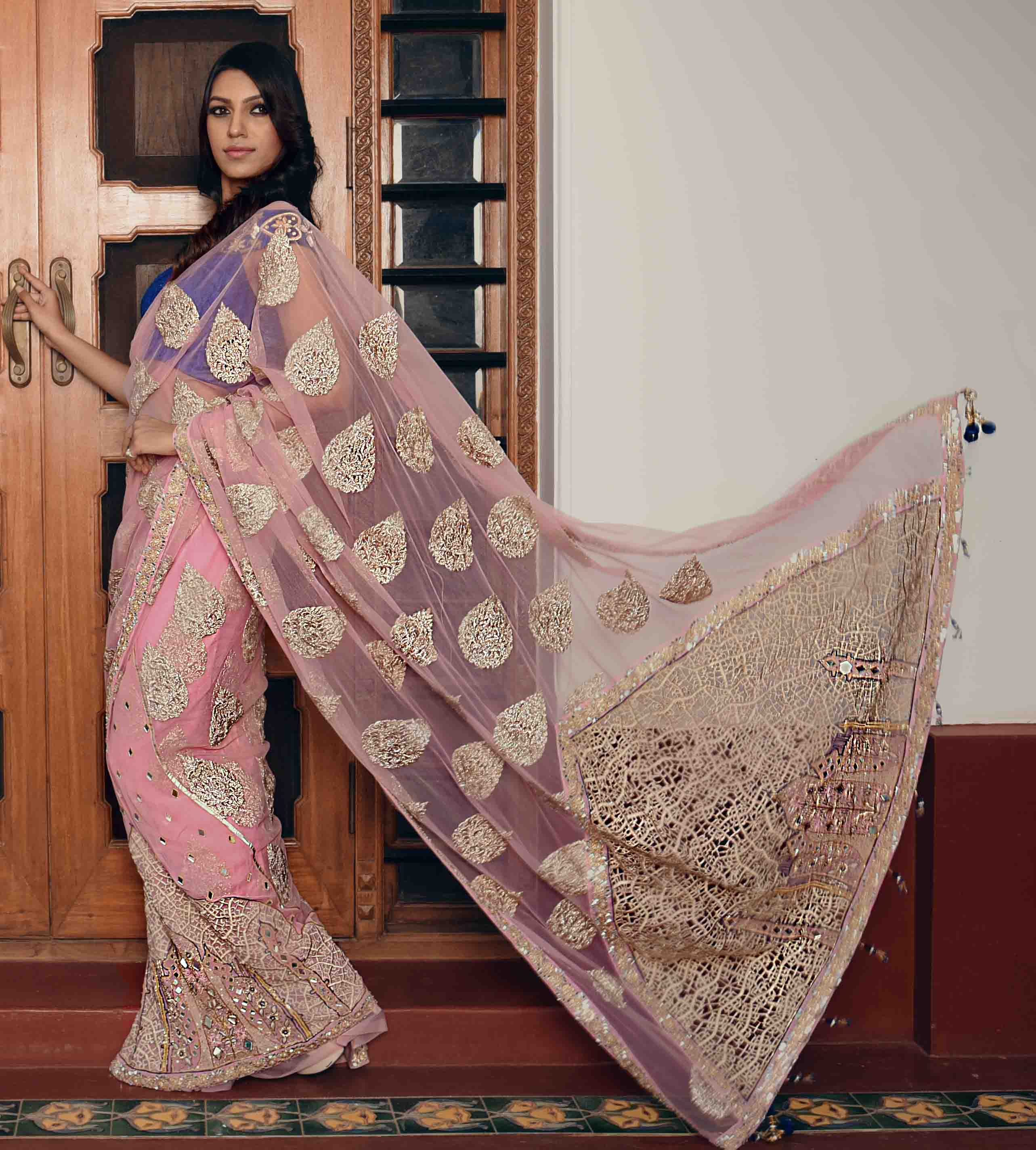Pink colour rich hand embroidered Taj Mahal inspired sari