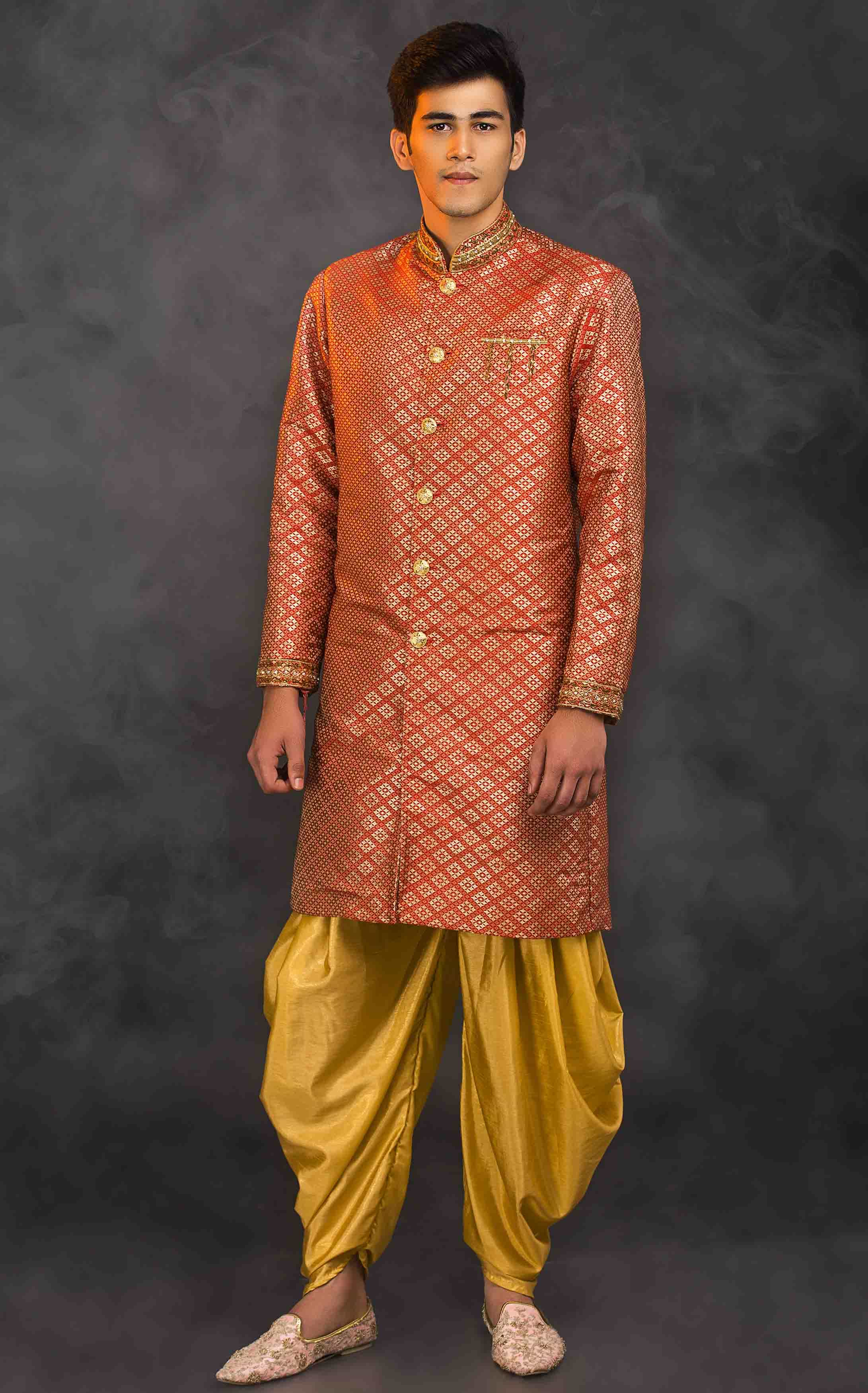 Brocade sherwani with dhoti pants