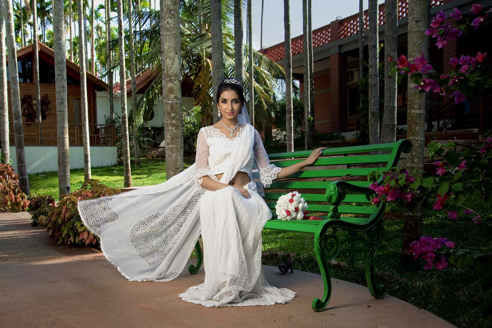 White wedding sari and blouse