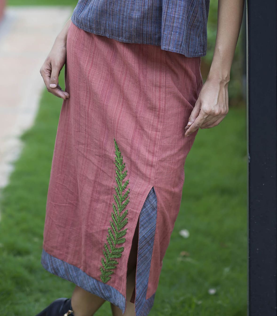 Handloom straight skirt with off center slit