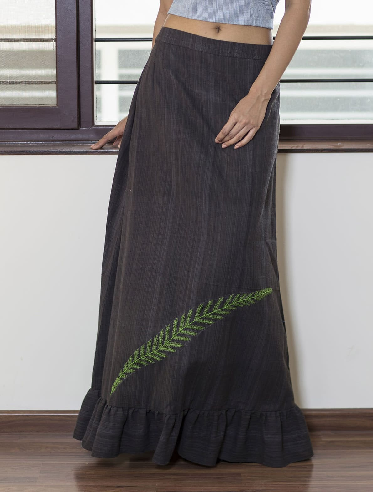 Black handloom with frilled hem