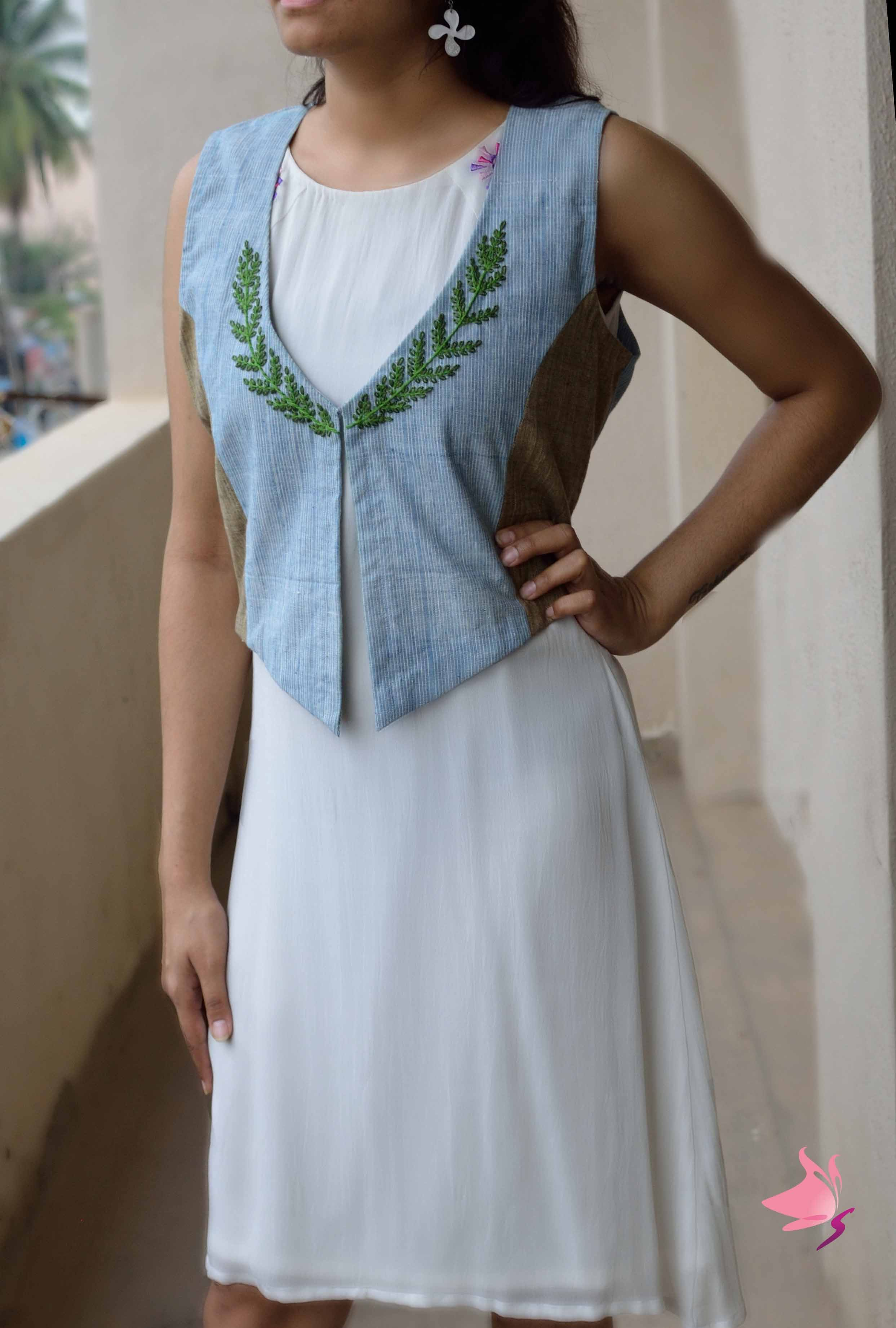 Light blue handloom waist coat