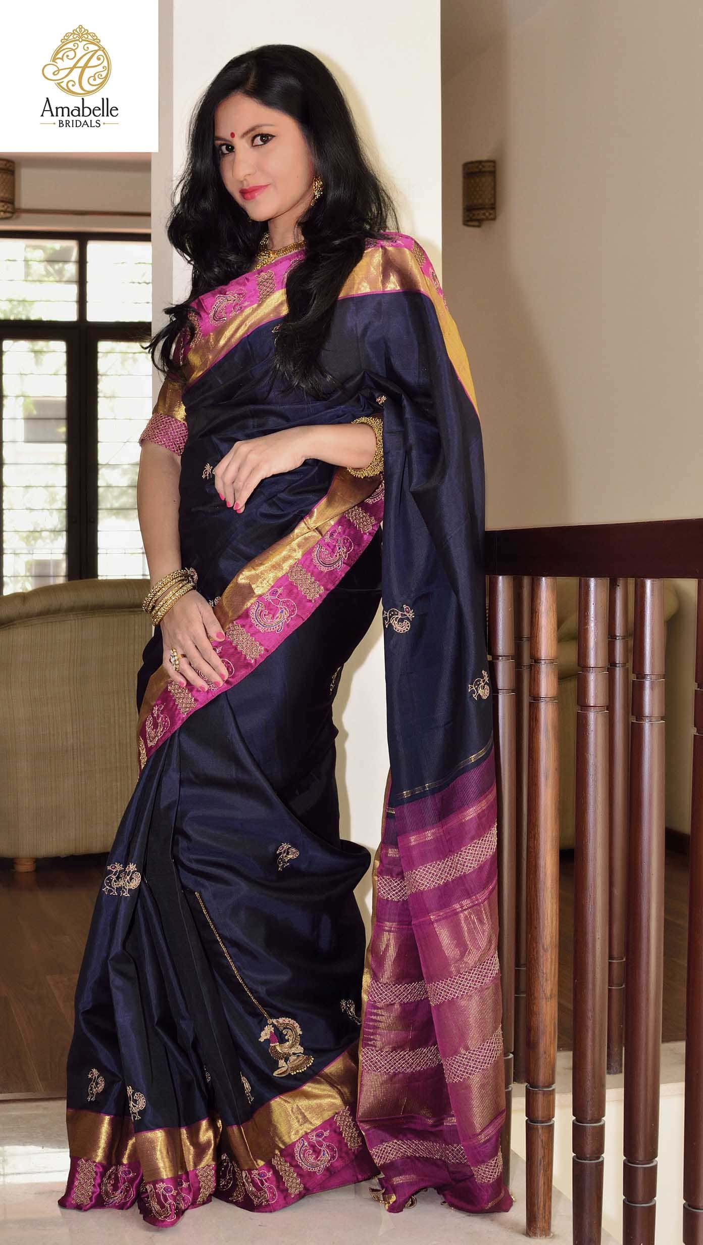 Blue kanchivaram silk hand embroidered wedding sari