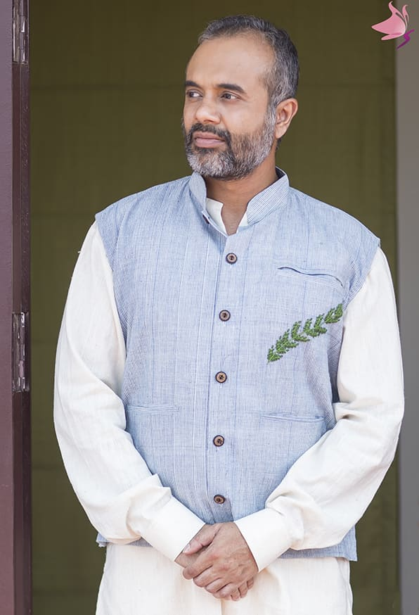 Light blue handloom nehru jacket