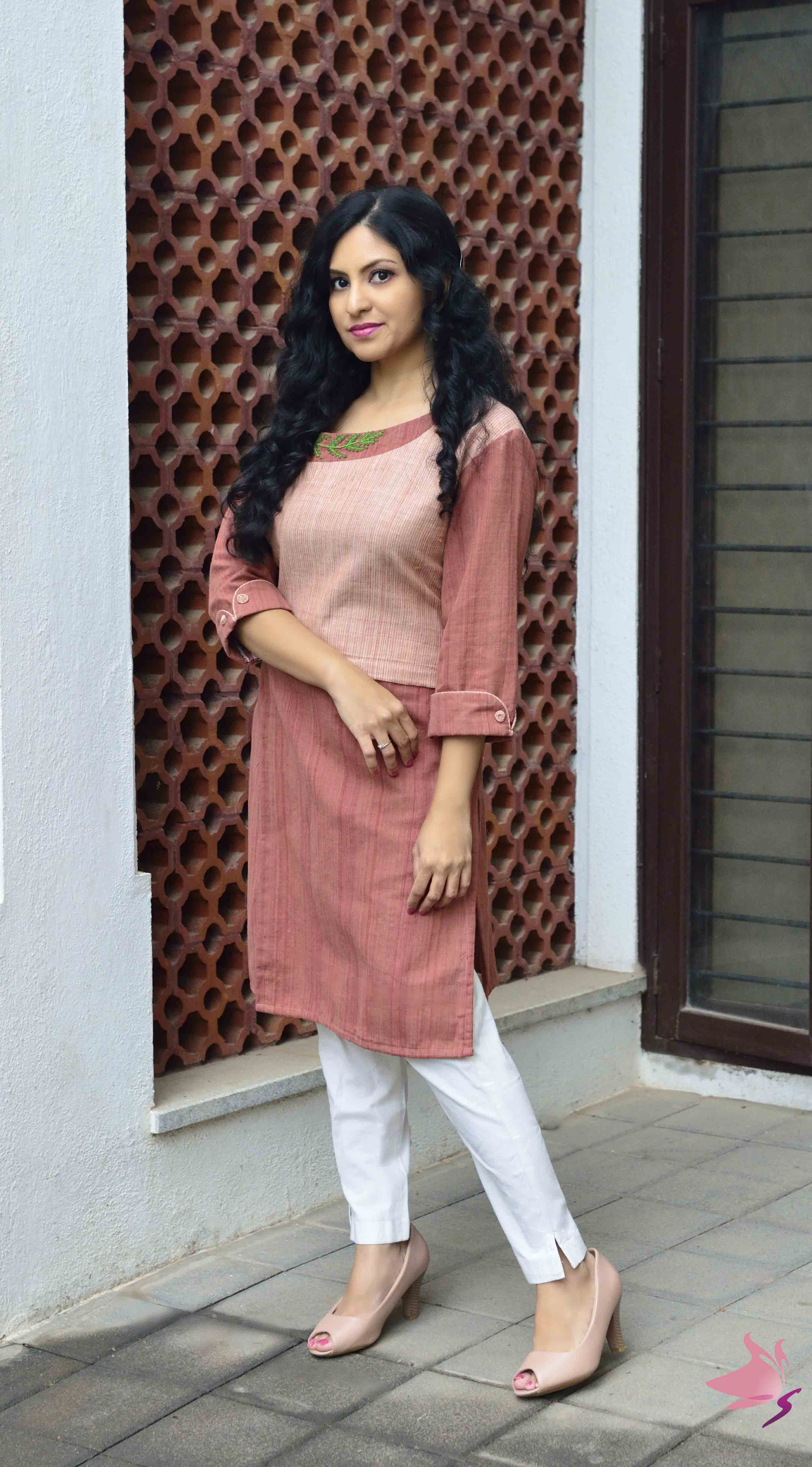 Rose brown and striped brown waist coat style handloom Kurti