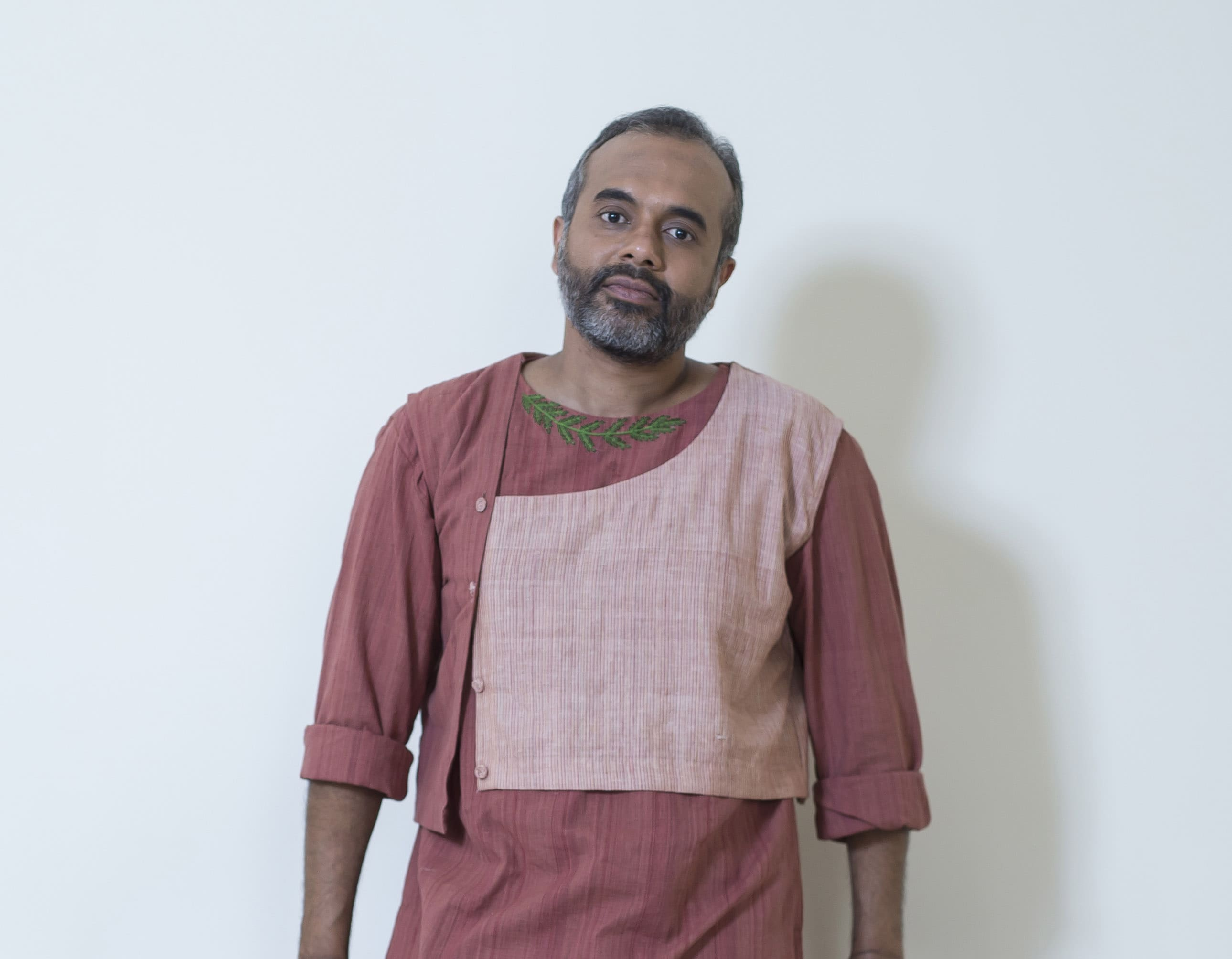 Rose brown handloom panelled jacket for mens
