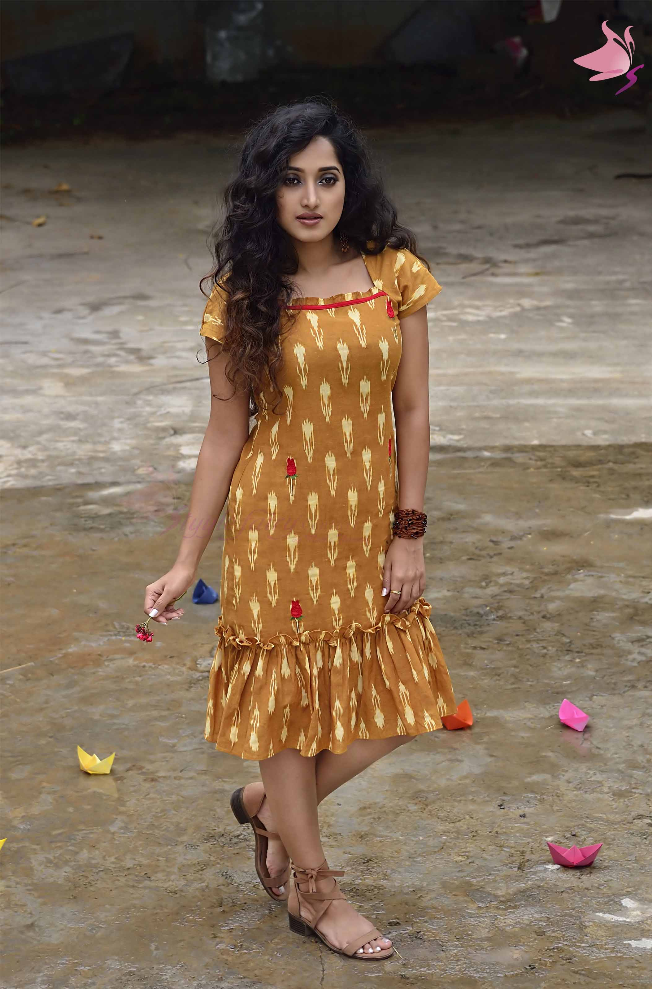Mustard yellow Ikat dress with frill hem