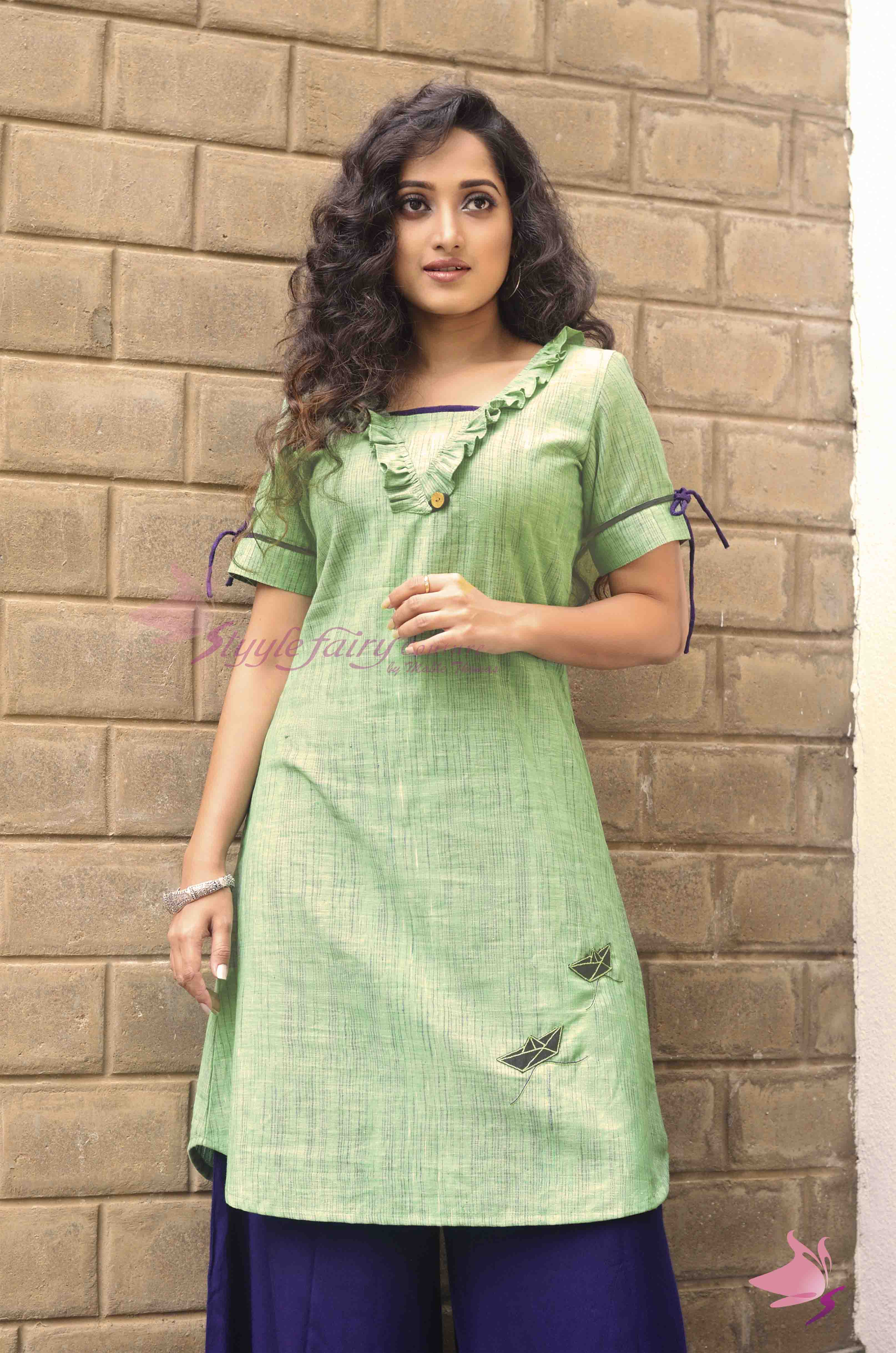 Green apple coloured handloom khadi kurti