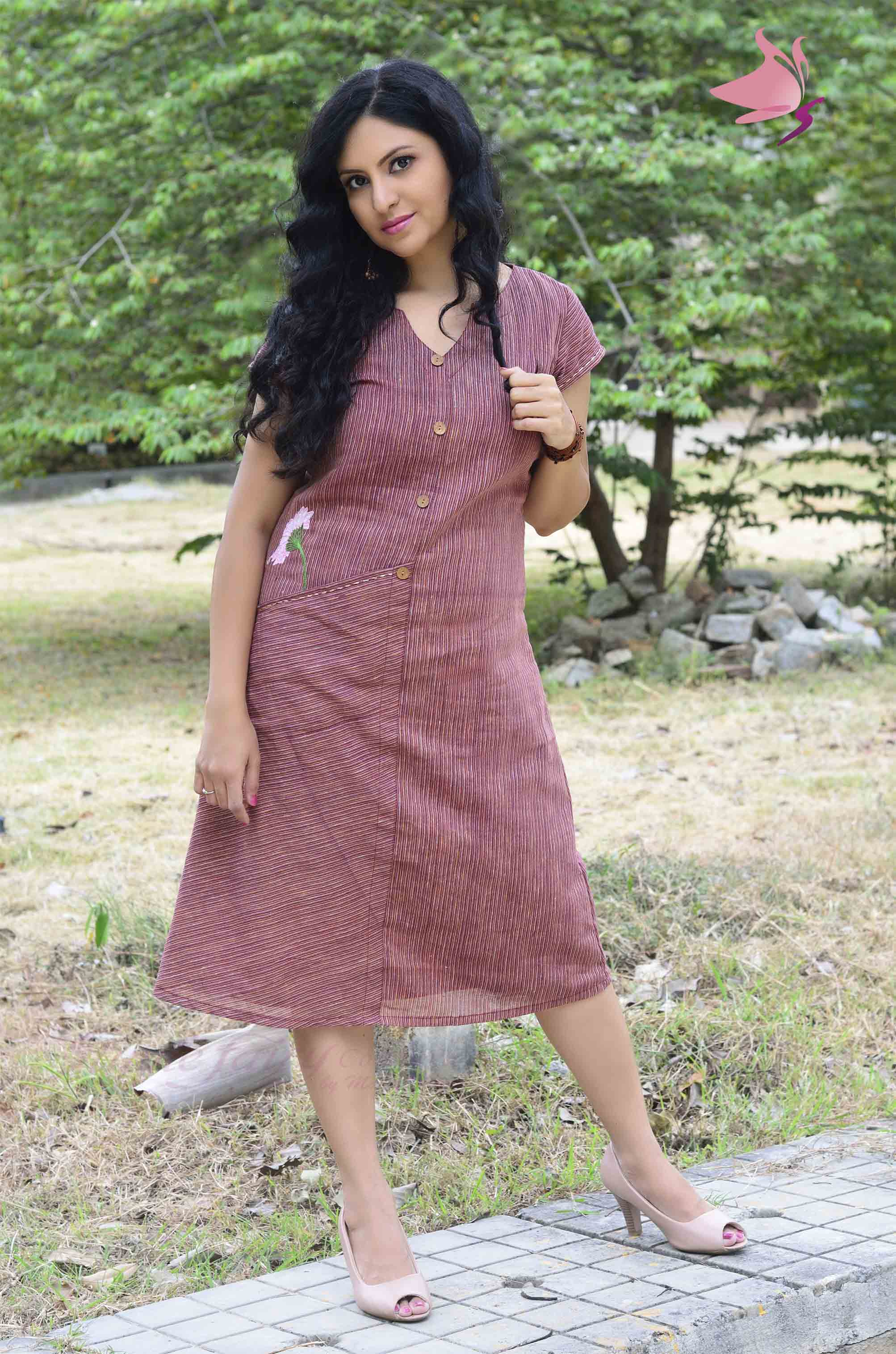 Red striped handloom khadi dress