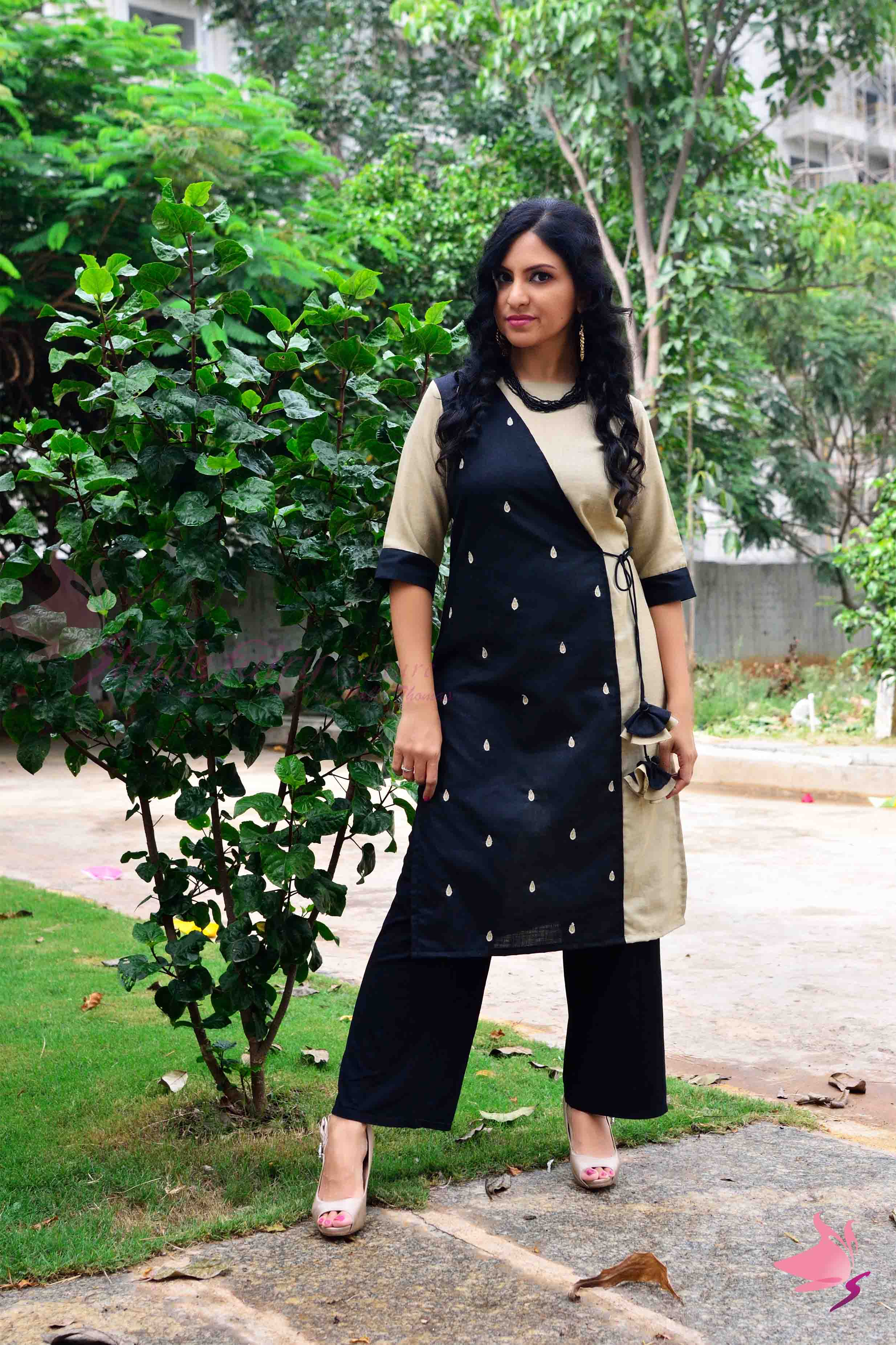 Panel style handloom cotton Kurti in black and beige