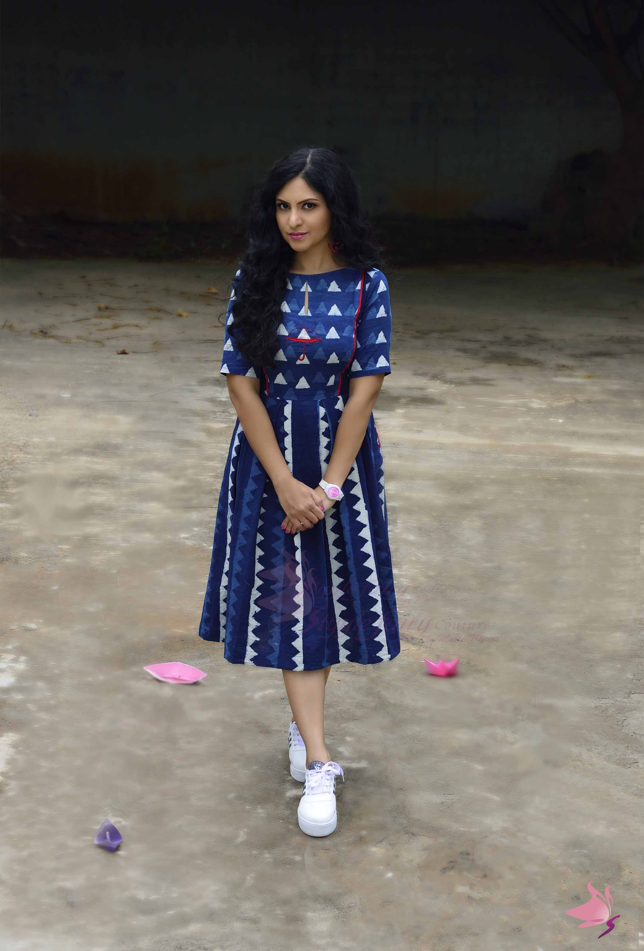 Indigo blue block printed pleated cotton dress