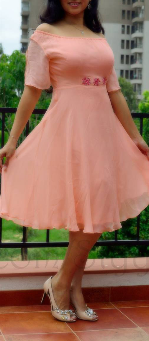 Peach convertible off shoulder georgette fit and flare dress