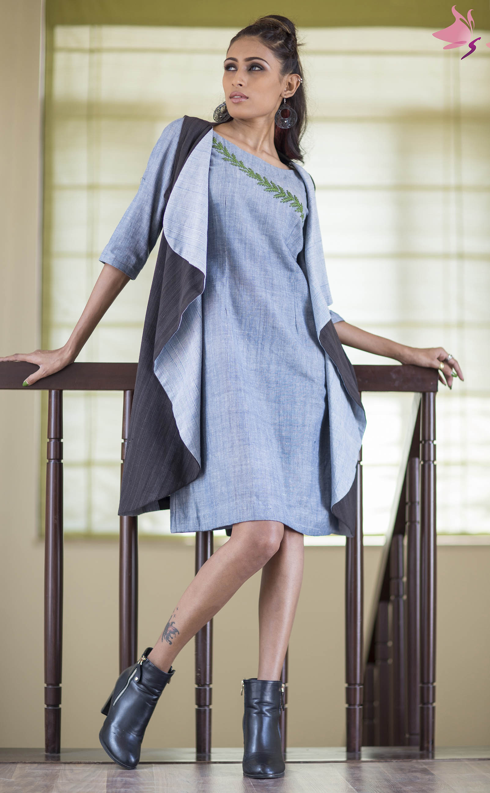 Blue handloom shift dress