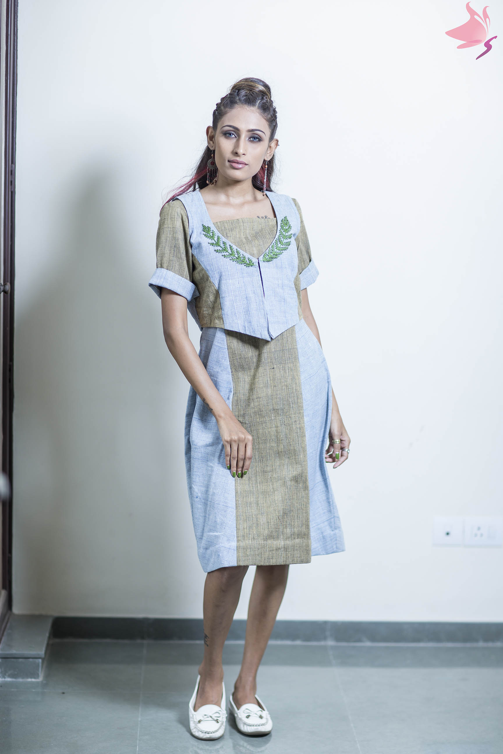 Blue strips and olive green khadi panelled dress