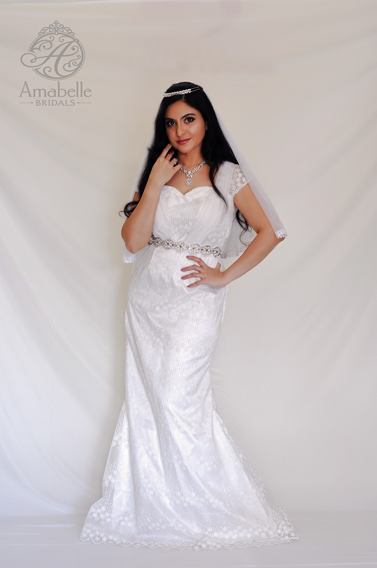 White embroidered lace Greek style Wedding Gown