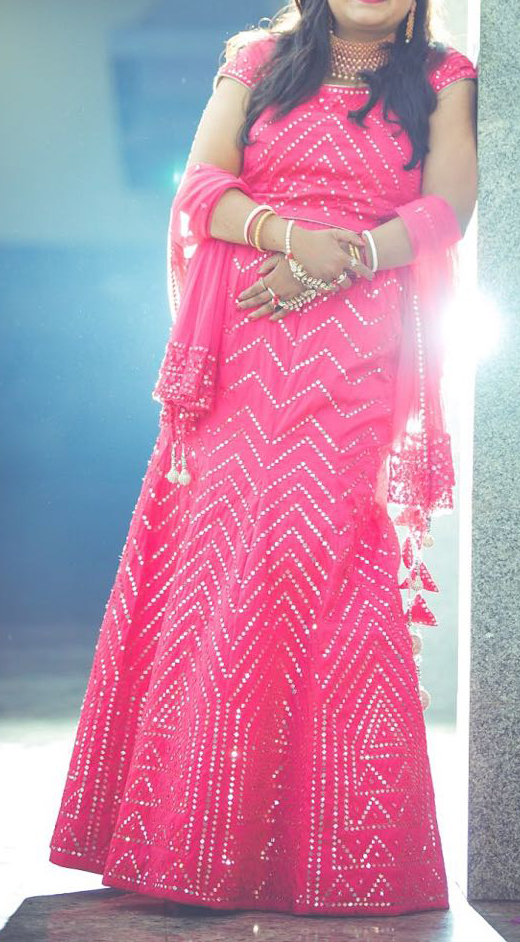 Pink mirror work lehenga choli set