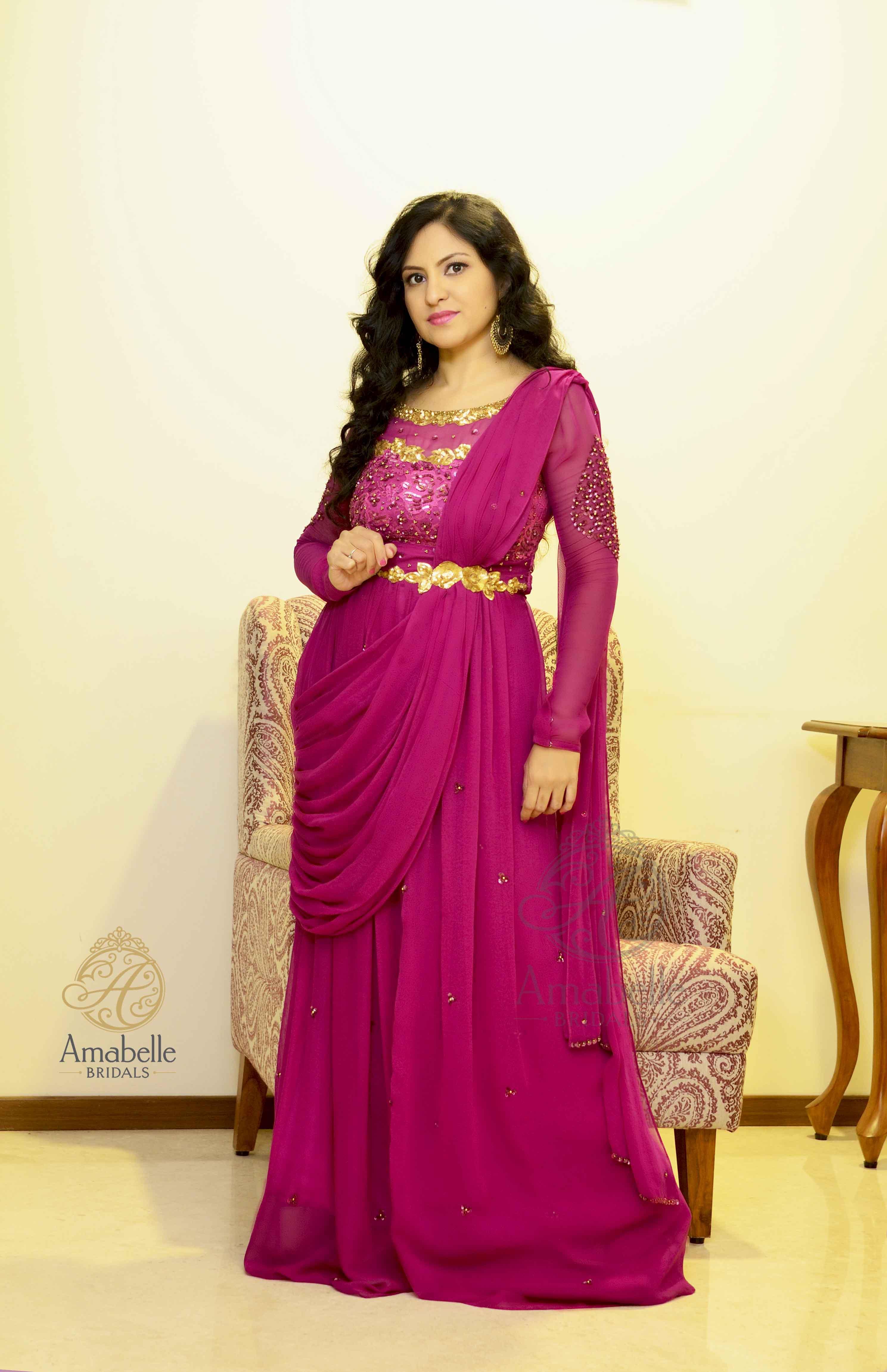 Magenta georgette Sari gown   Styylefairy