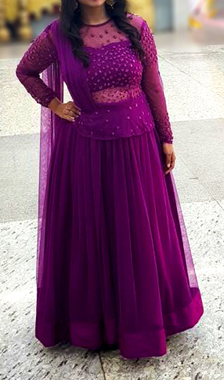 Grape colour Lehenga