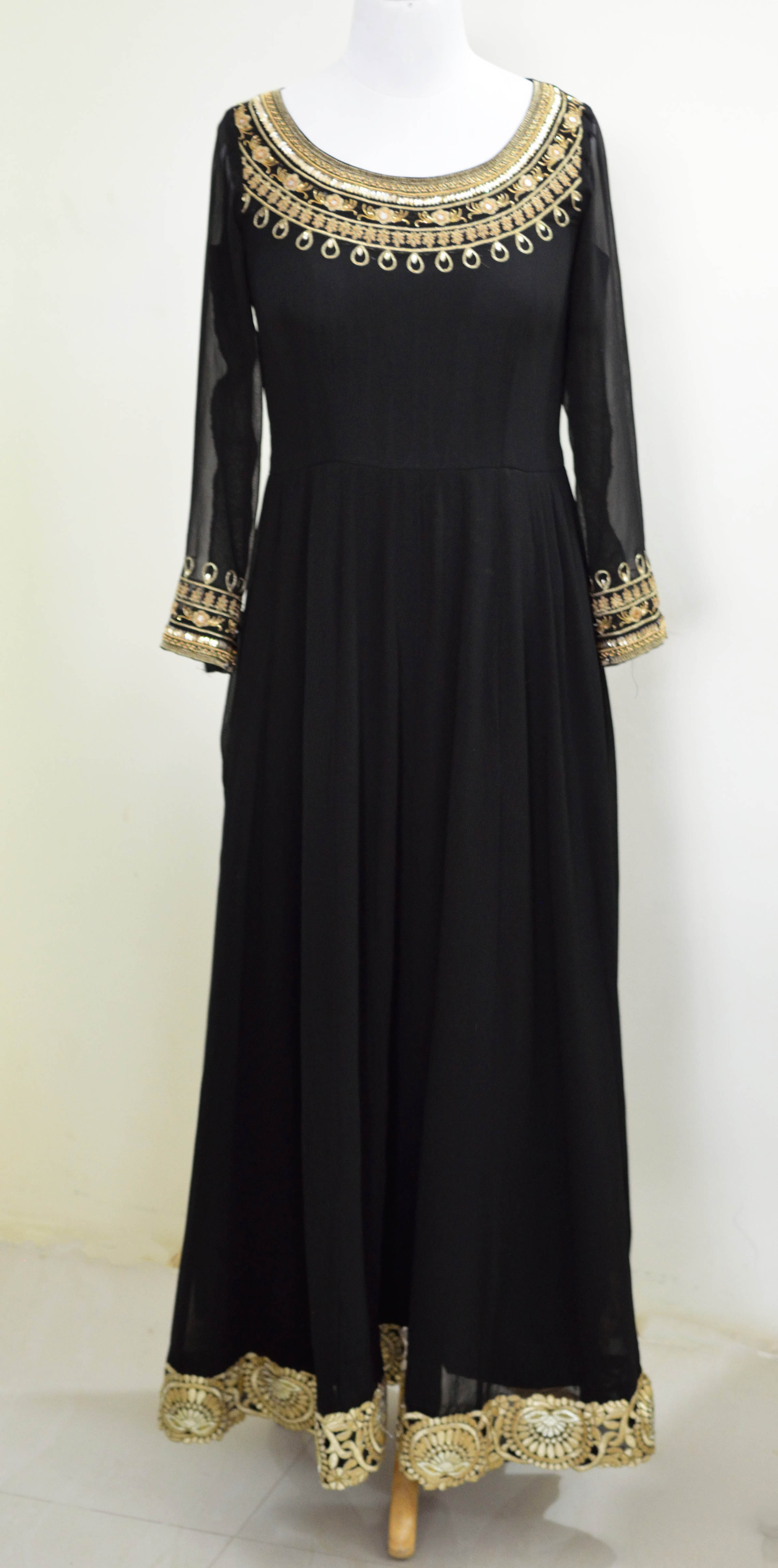 Black Georgette Anarkali gown