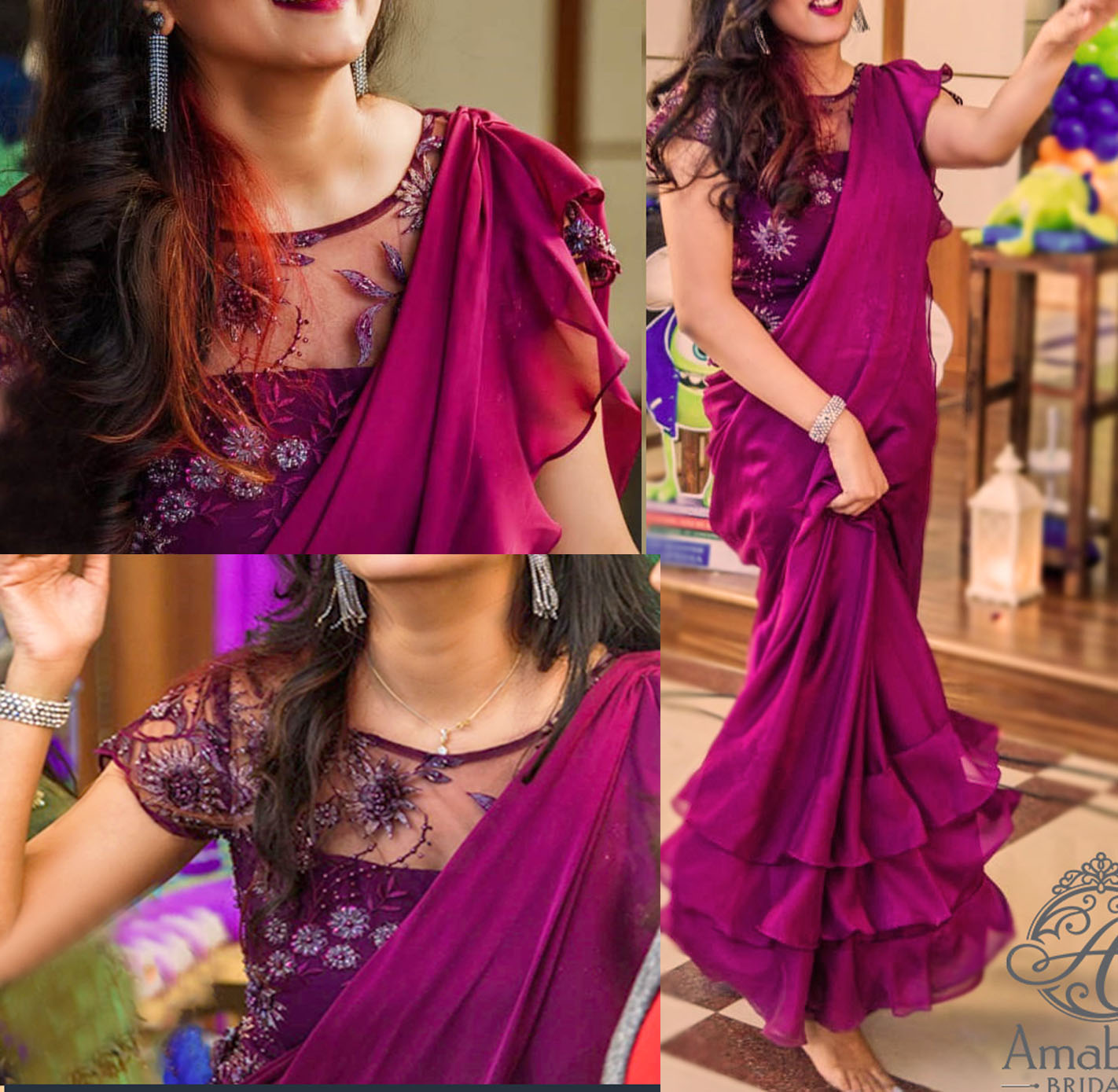 Plum colour georgette multi layer ruffles sari