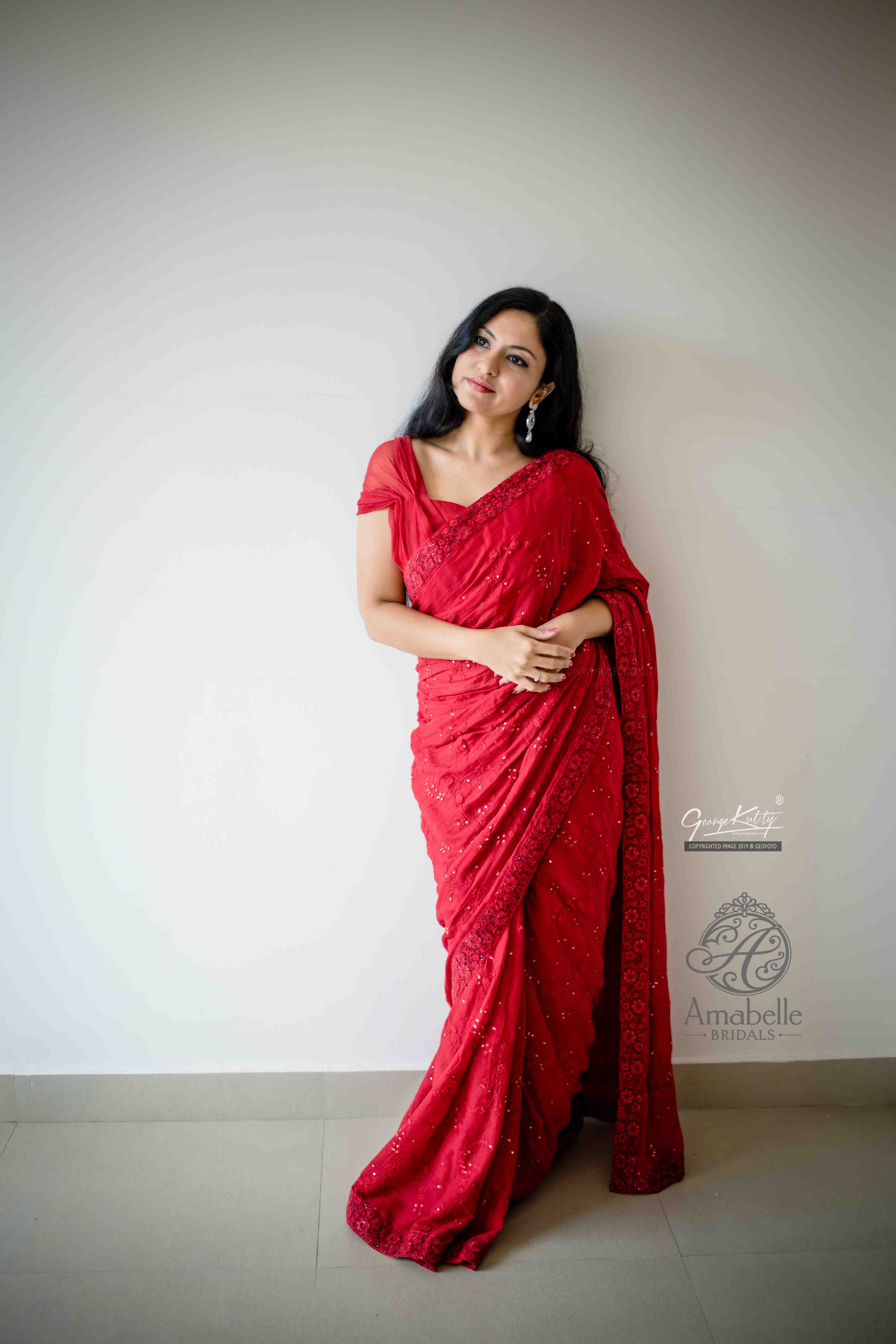Vermillion Red saree in mul cotton