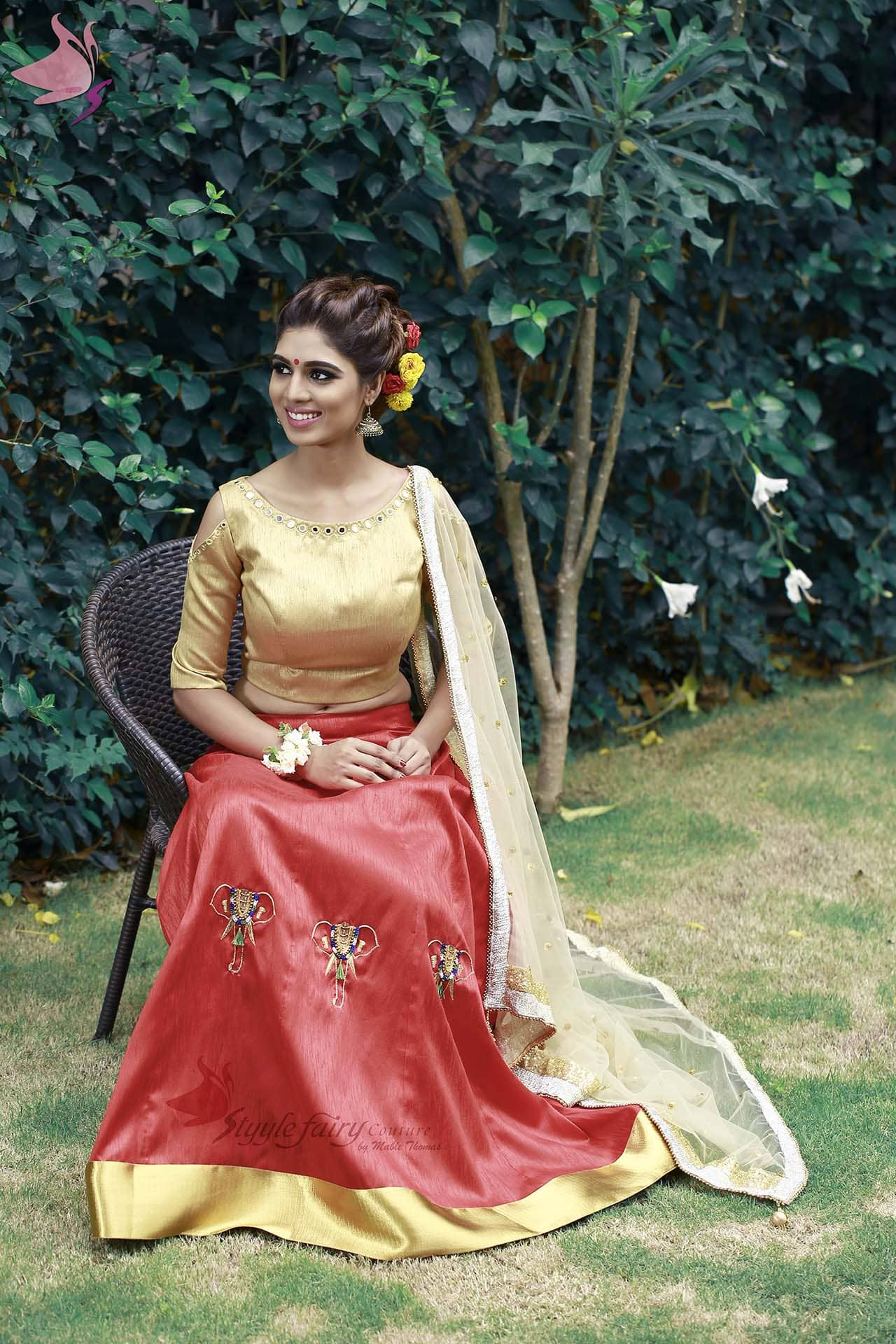 Red Kali lehenga with gold brocade blouse