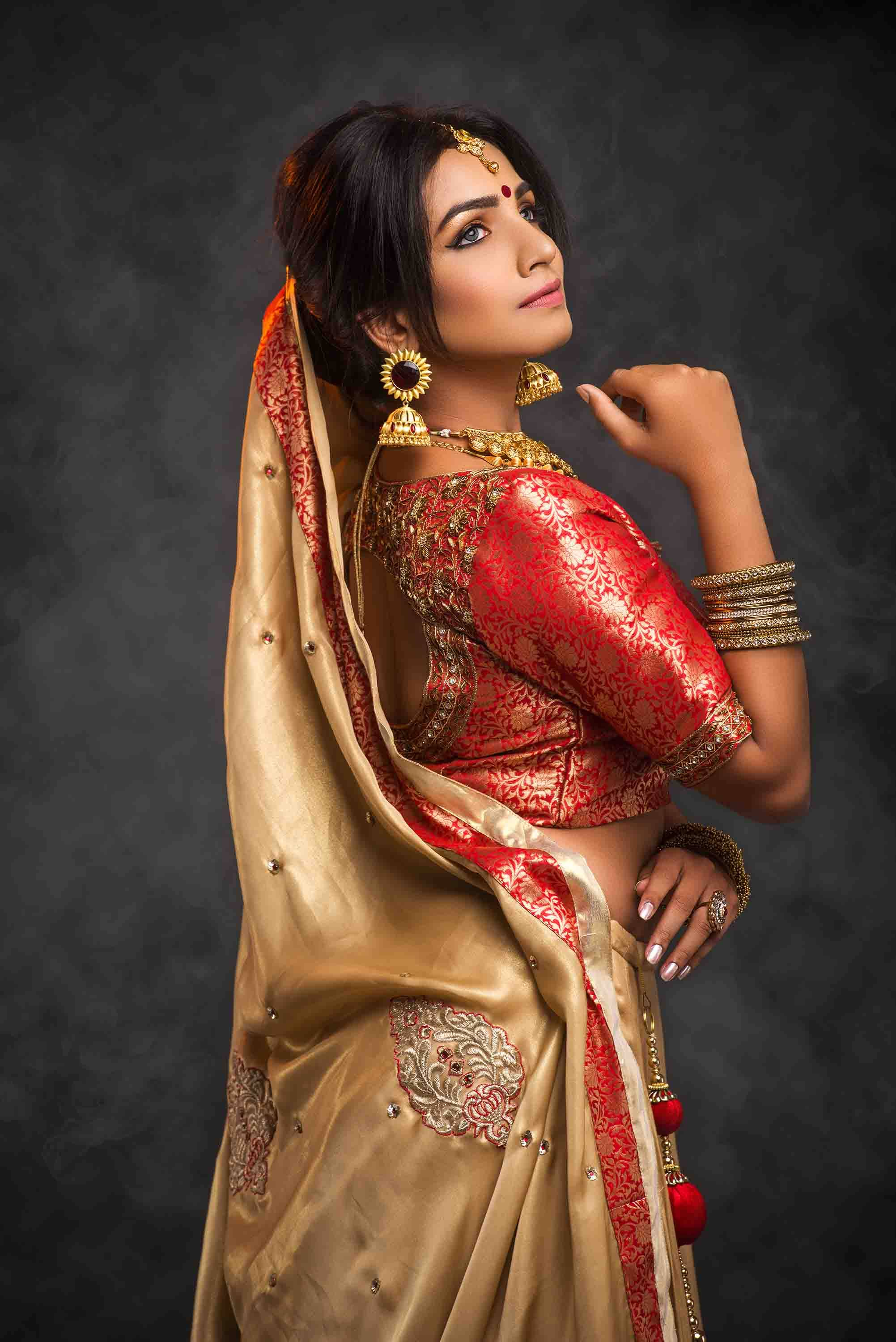 Red and Gold Brocade and Shimmer Flared lehenga choli