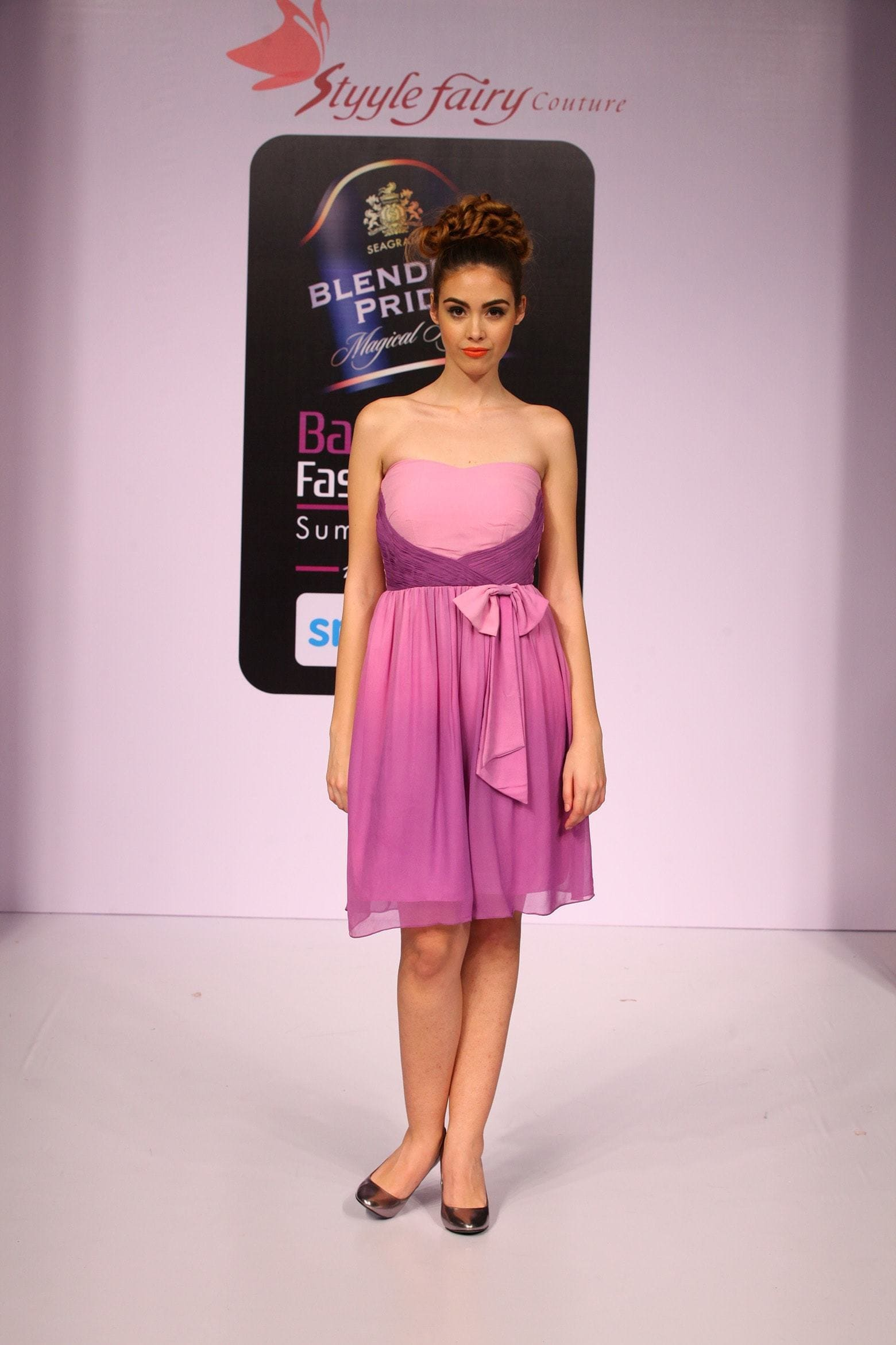 Evening Dress in ombre dyed shades of lavender