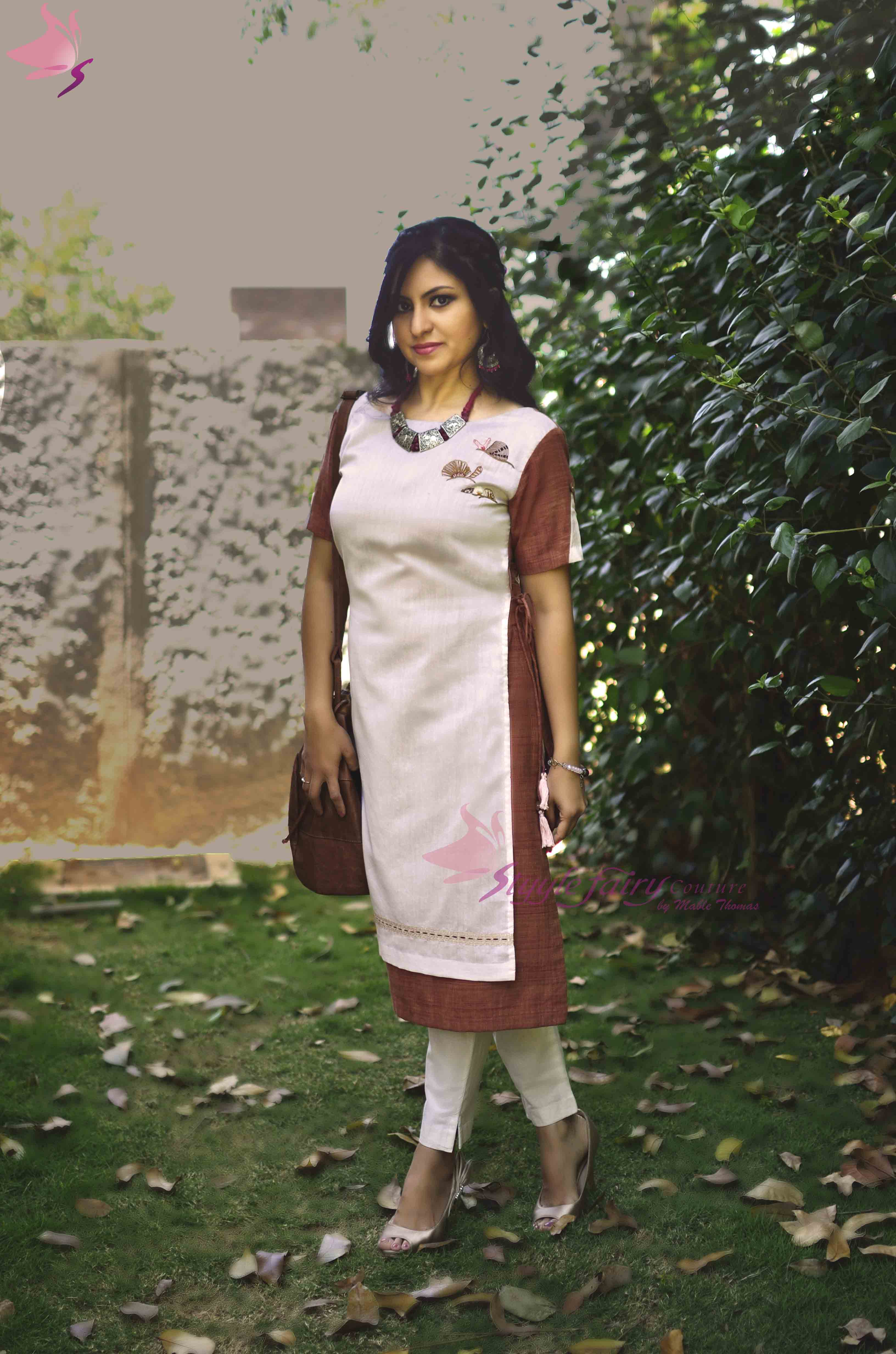 Rose brown kurti with pale pink Chanderi apron flap