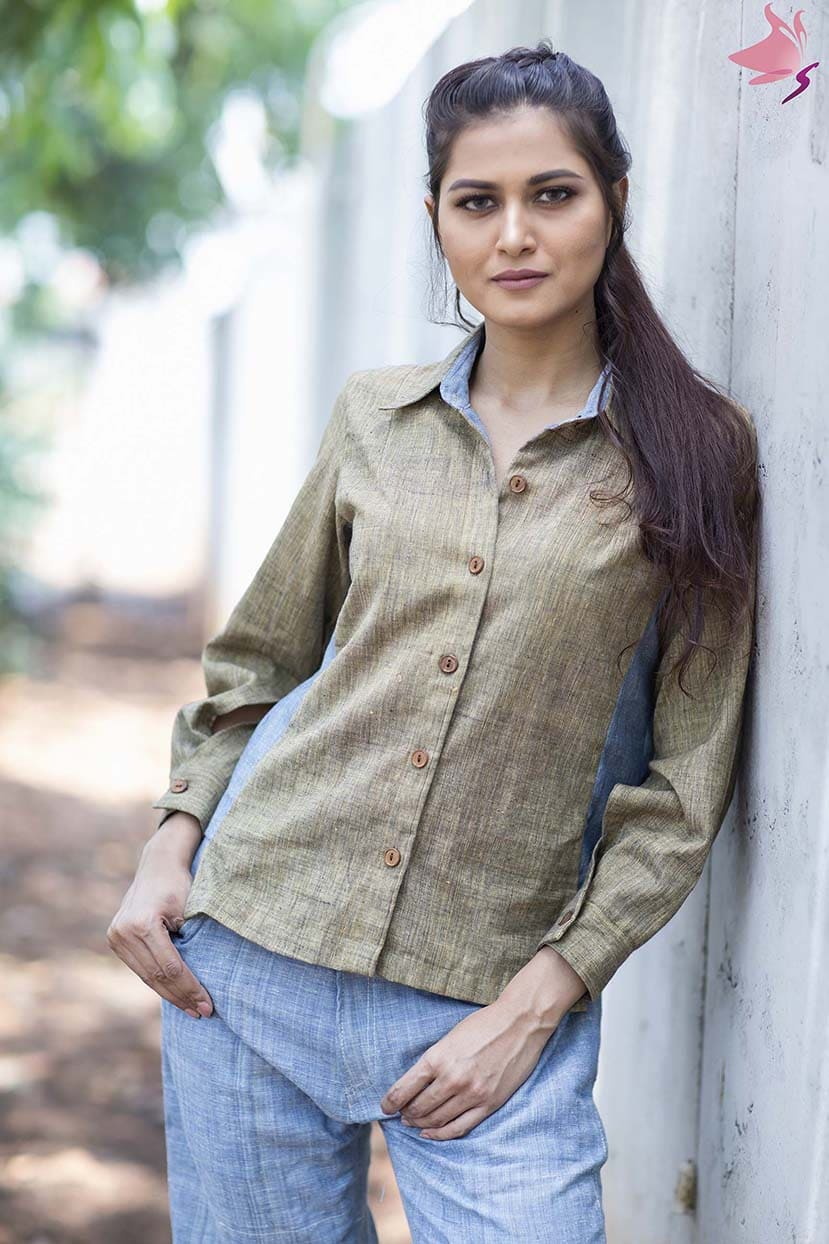 Women olive green and blue shirt