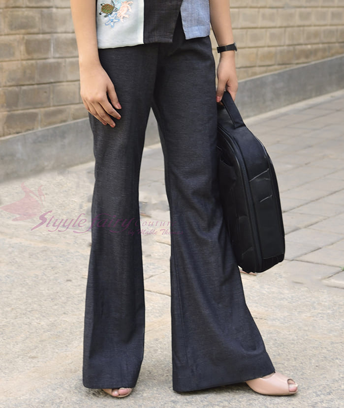 Black bell bottom trousers