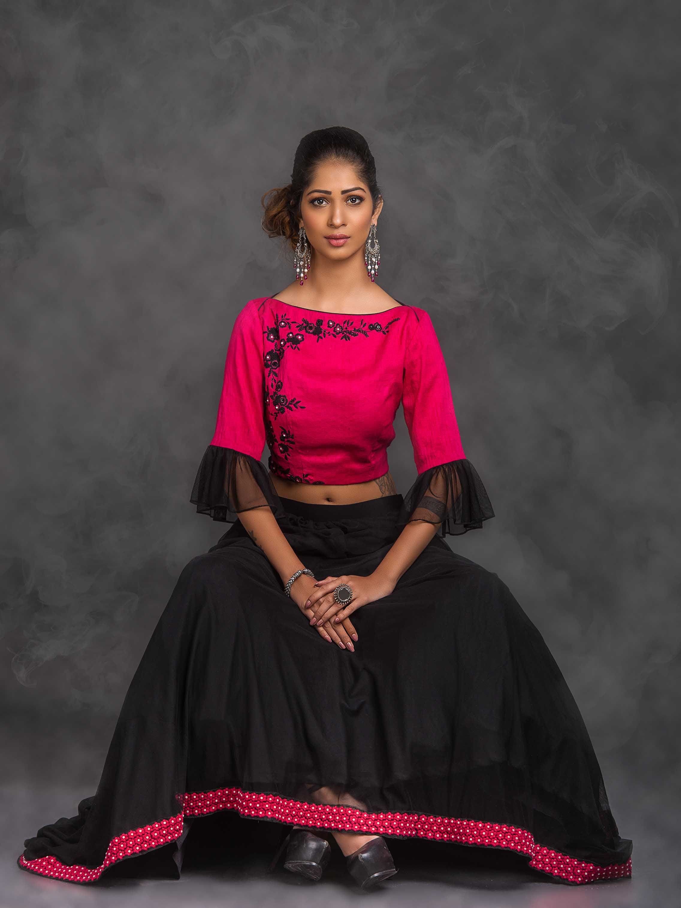 c4e06808d2e29 Pink and black lehenga and crop top
