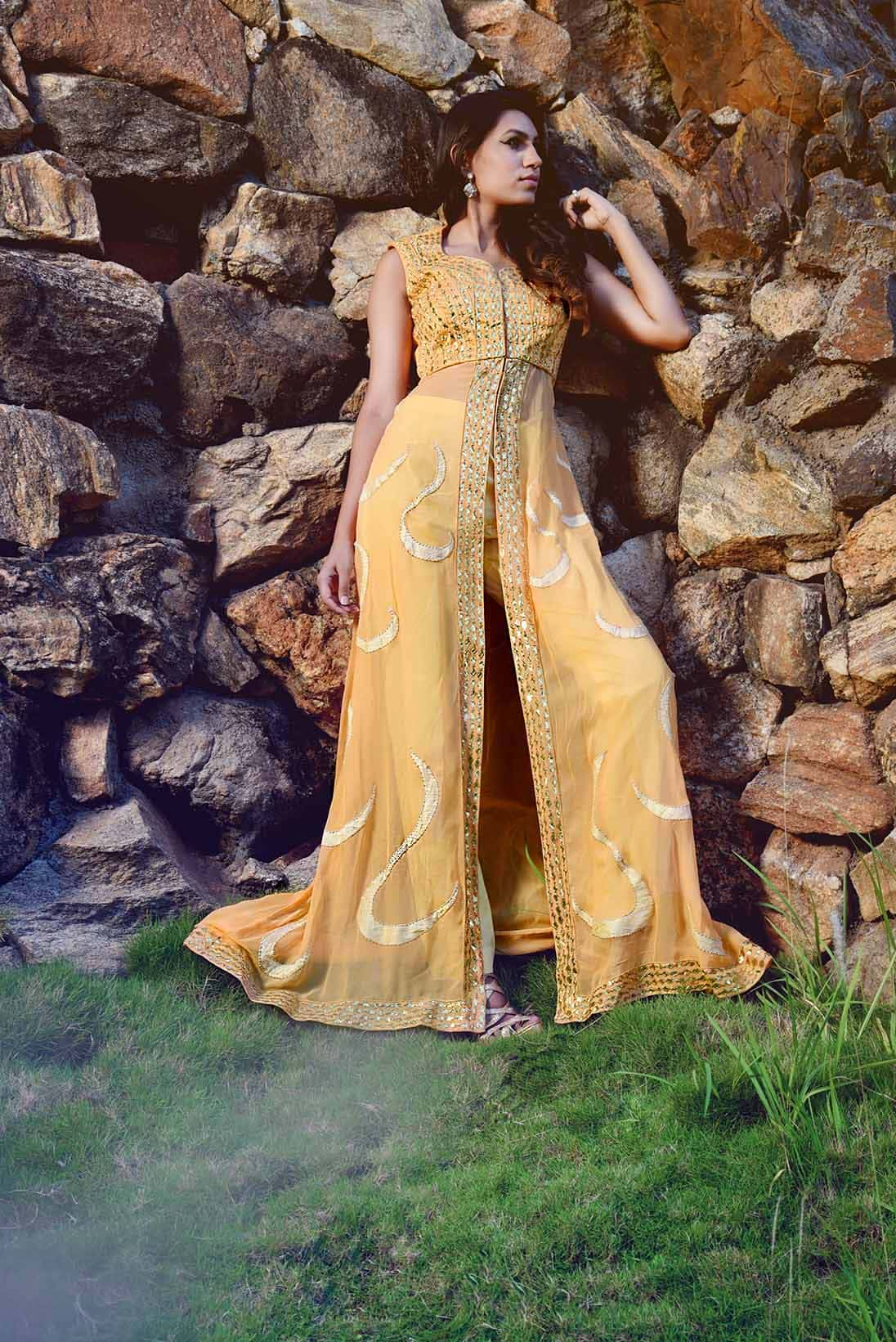 Mango butterscotch cape gown with pants