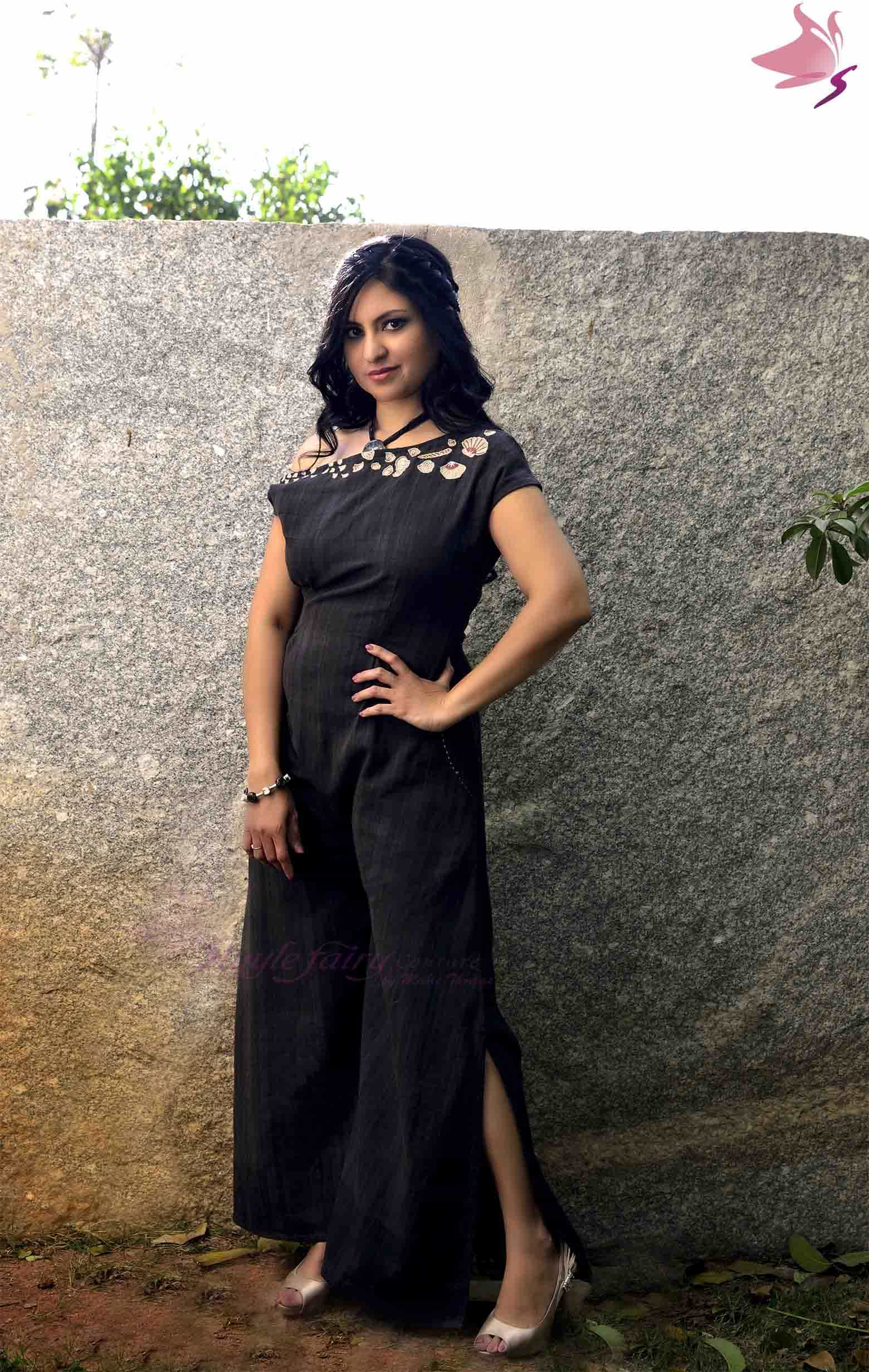 Black handloom khadi one side off-shoulder jumpsuit
