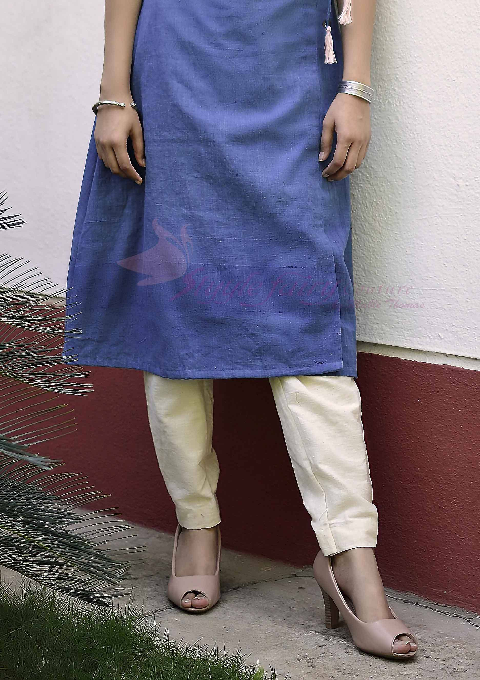 Cream handloom khadi pencil style trousers