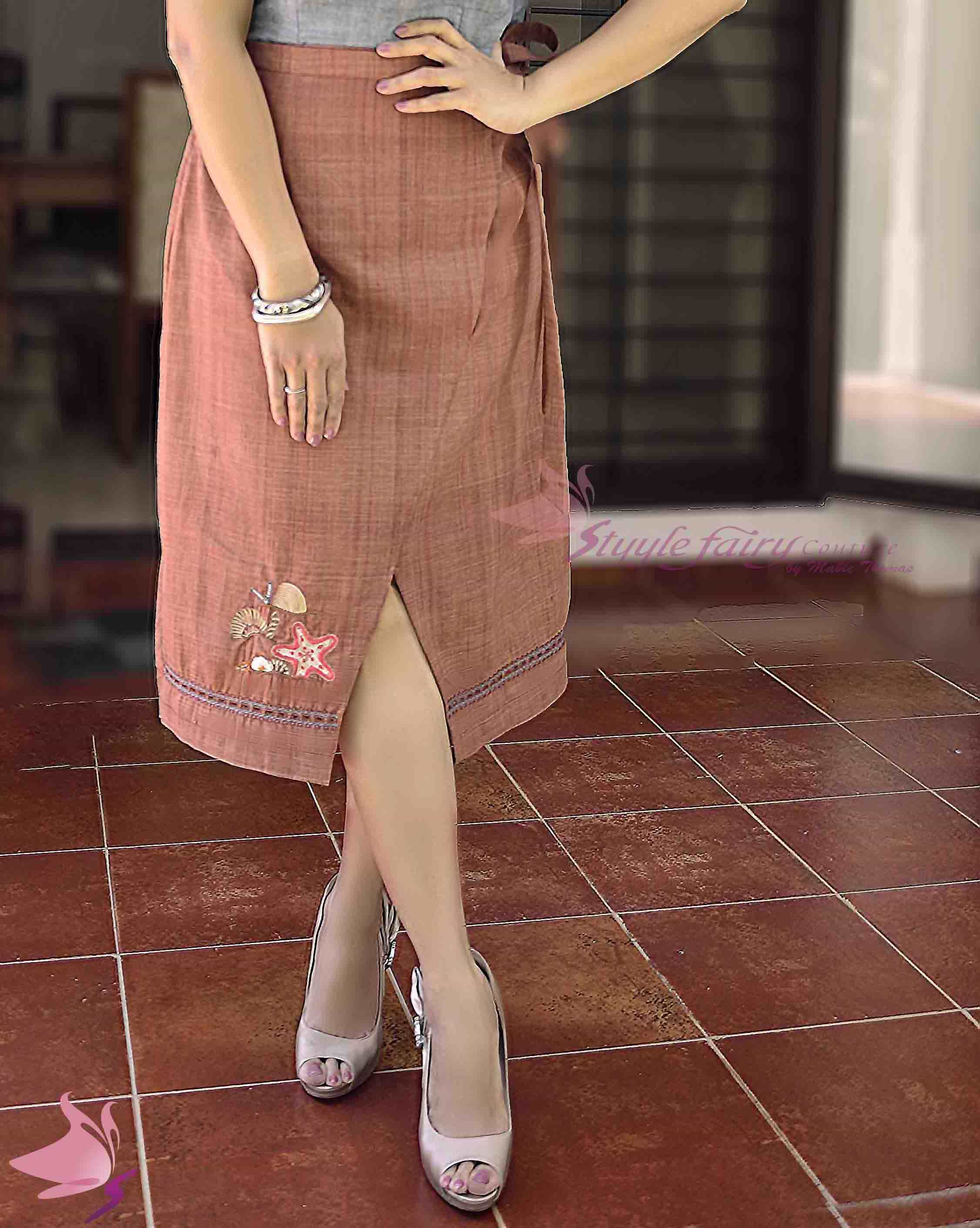 Rose brown handloom khadi wrap skirt